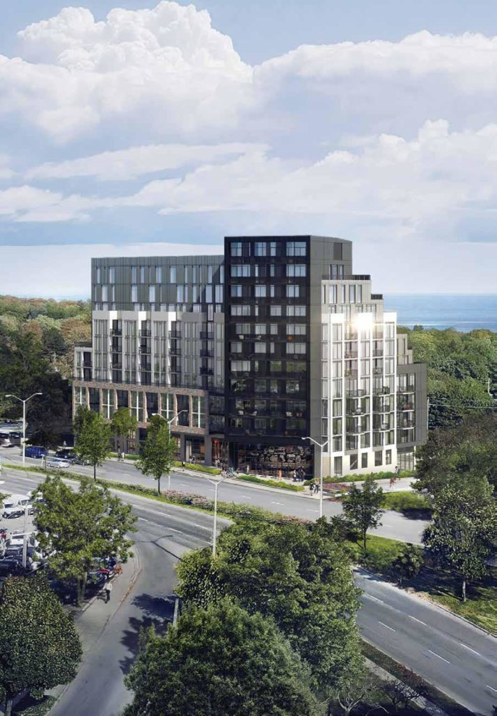 aerial view of merge condos overlooking lake ontario