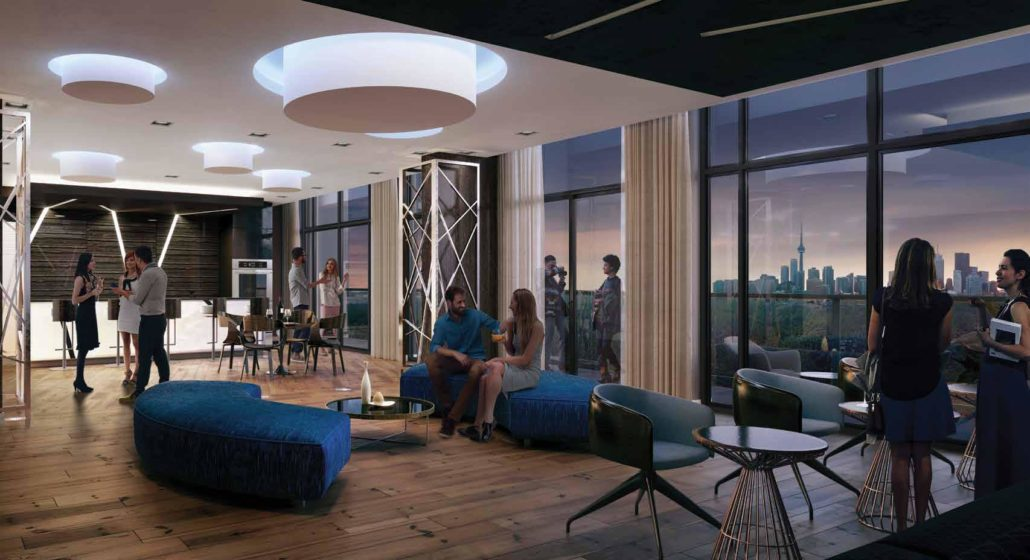 party room at merge condos