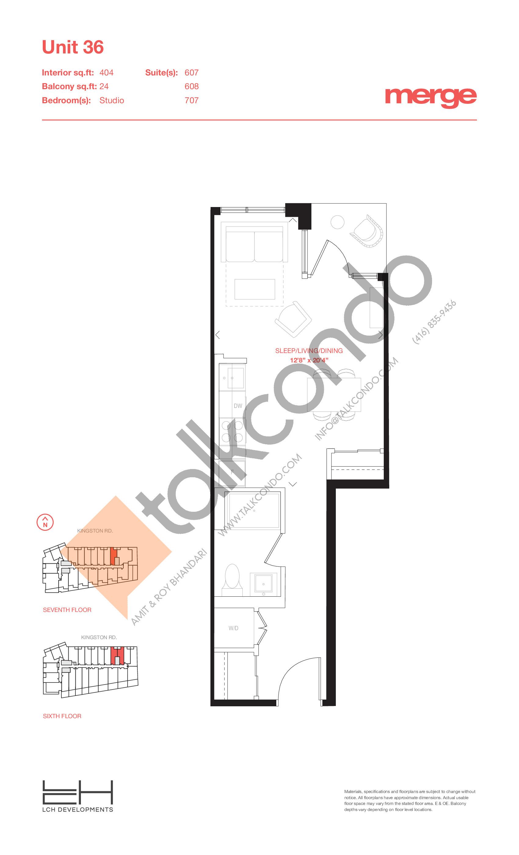 Unit 36 - Tower Floor Plan at Merge Condos - 404 sq.ft