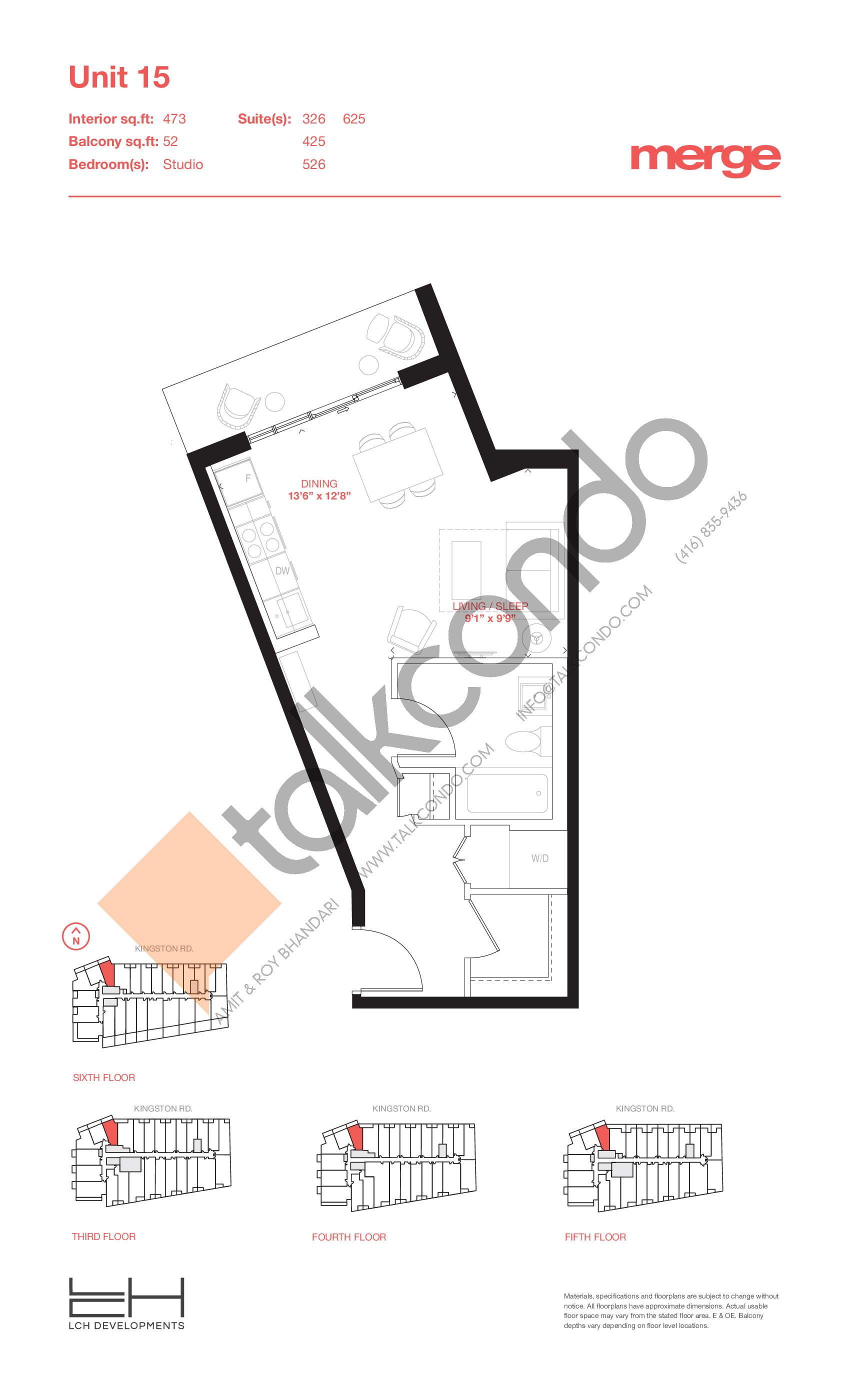 Unit 15 - Tower Floor Plan at Merge Condos - 473 sq.ft