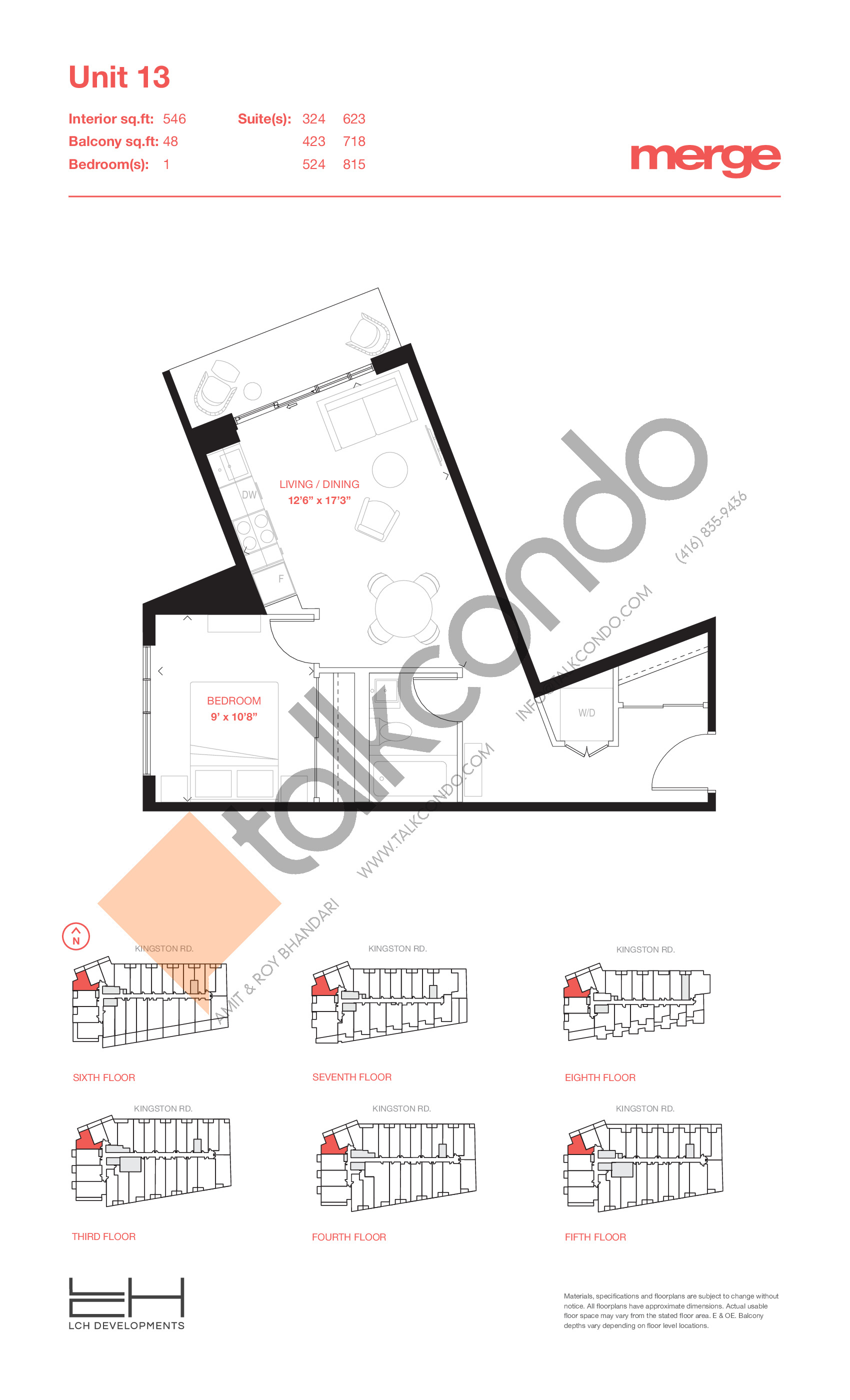 Unit 13 - Tower Floor Plan at Merge Condos - 546 sq.ft