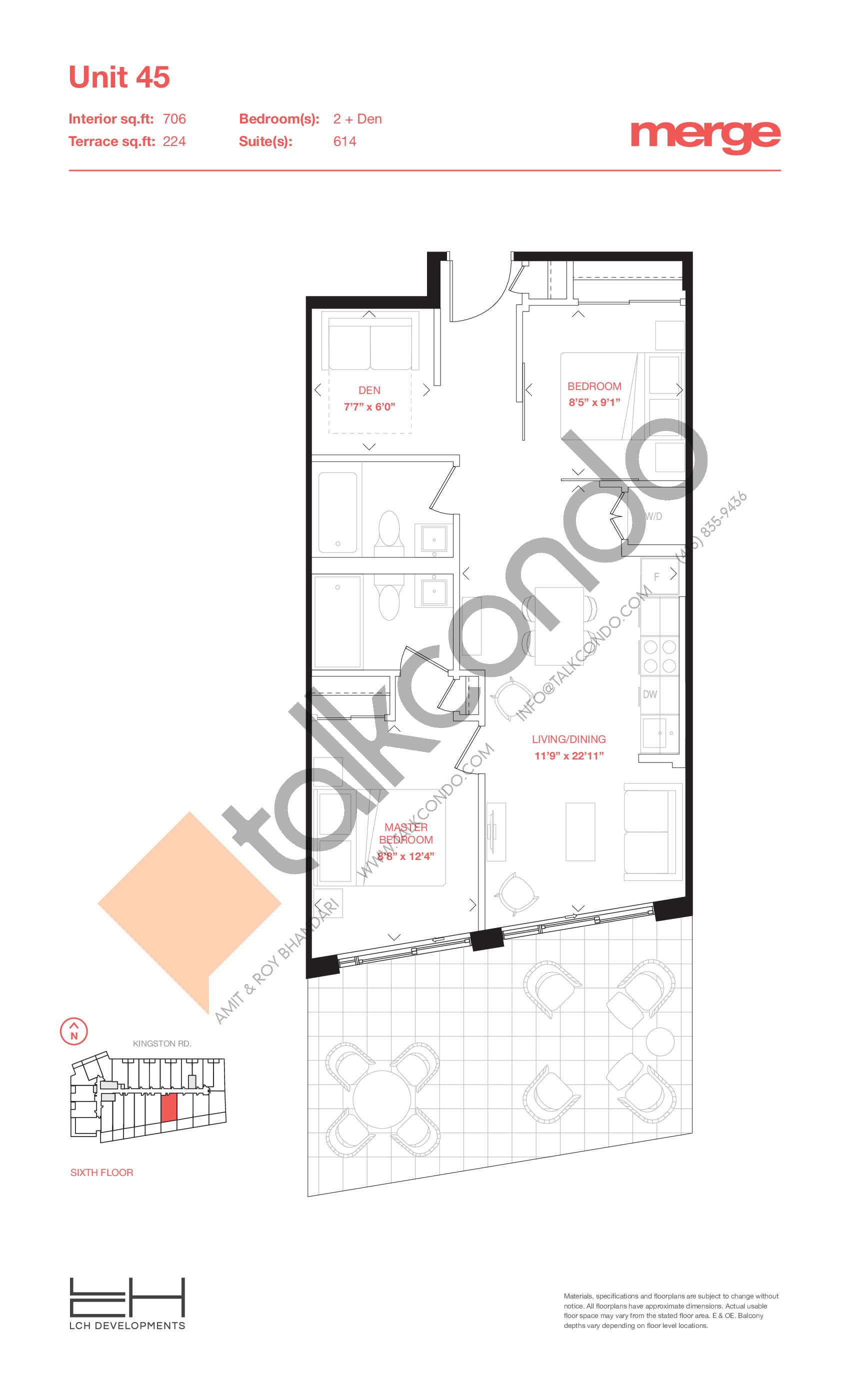 Unit 45 - Terraces Floor Plan at Merge Condos - 706 sq.ft