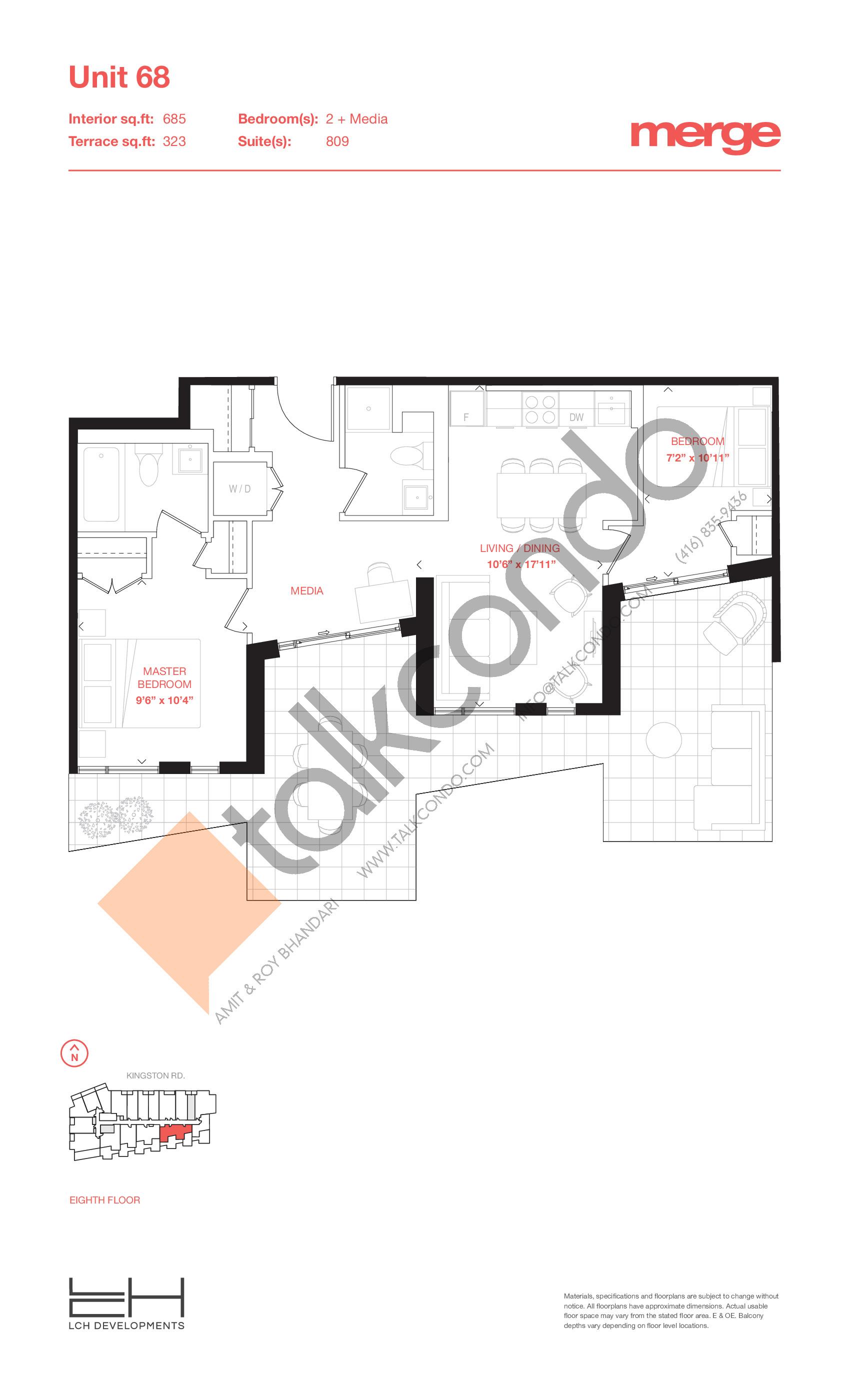 Unit 68 - Terraces Floor Plan at Merge Condos - 685 sq.ft
