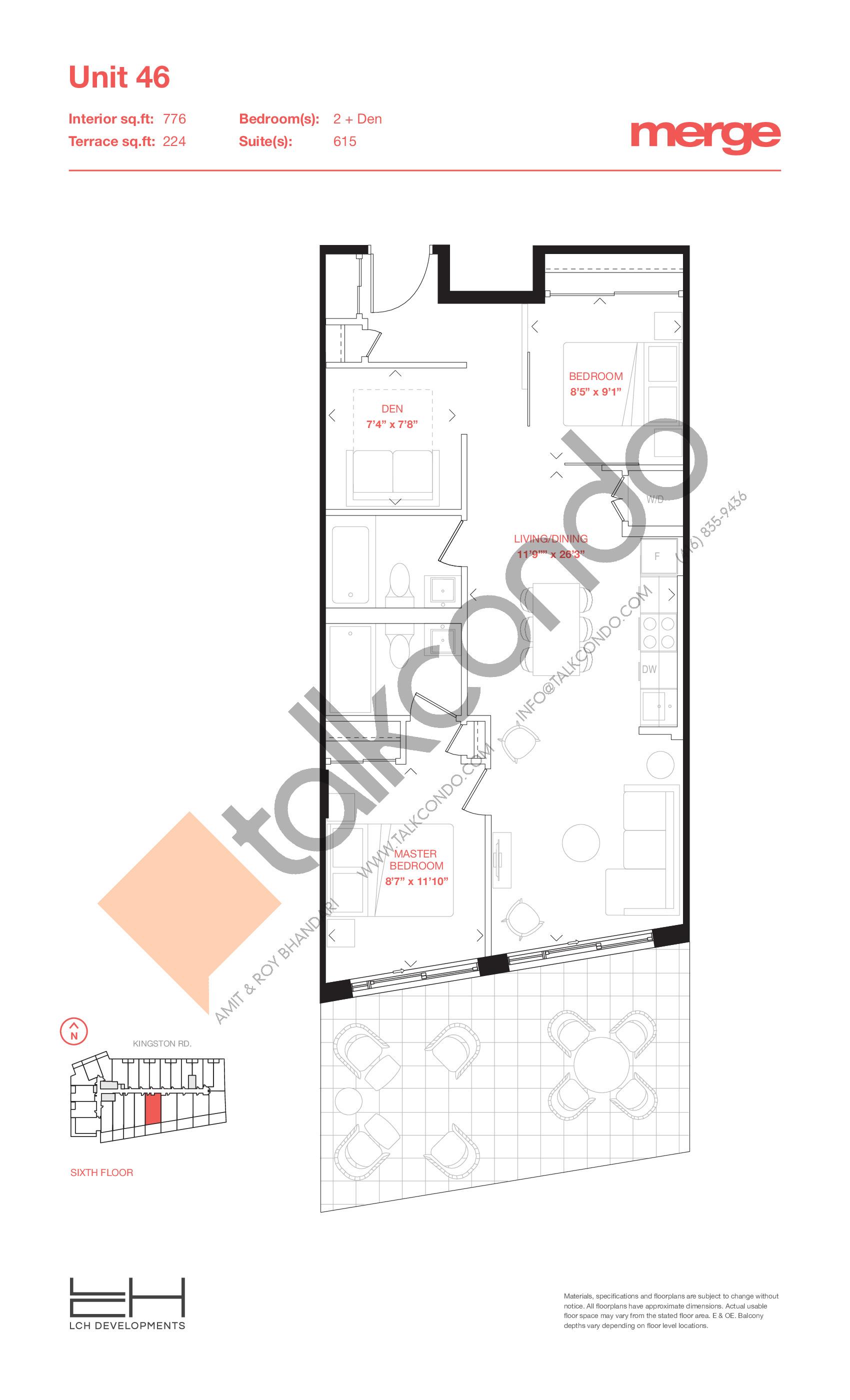 Unit 46 - Terraces Floor Plan at Merge Condos - 776 sq.ft