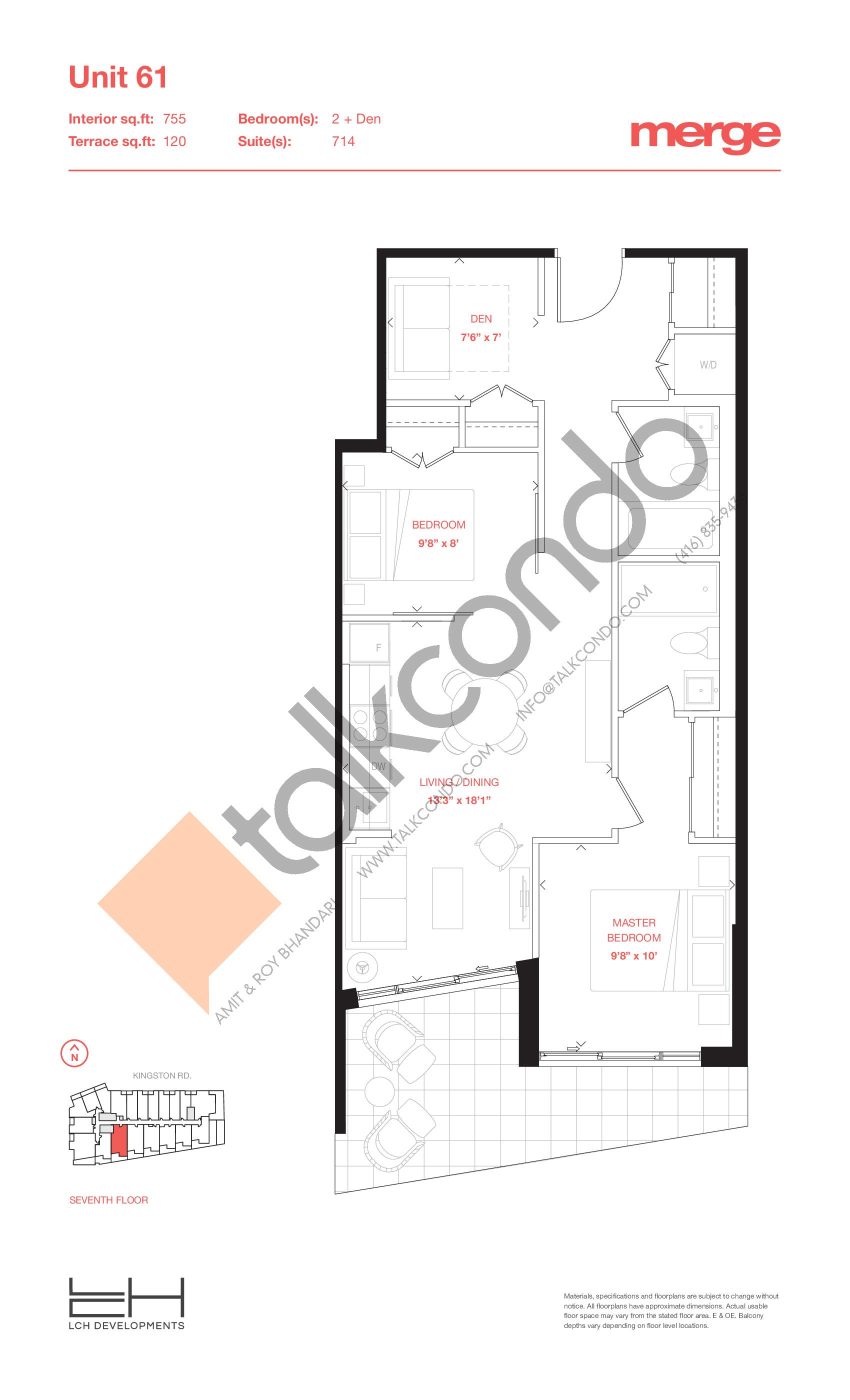 Unit 61 - Terraces Floor Plan at Merge Condos - 755 sq.ft