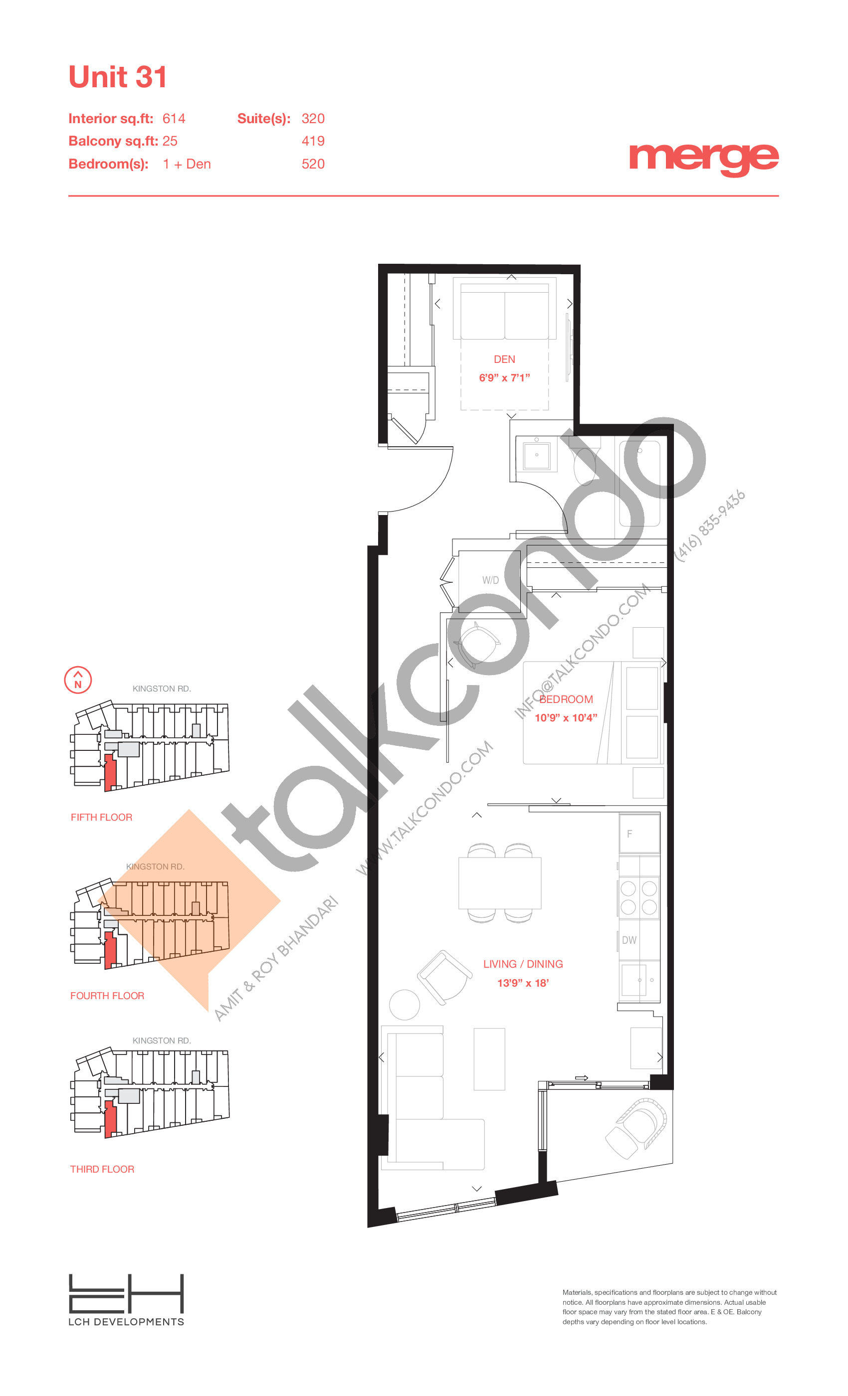 Unit 31 - Tower Floor Plan at Merge Condos - 614 sq.ft