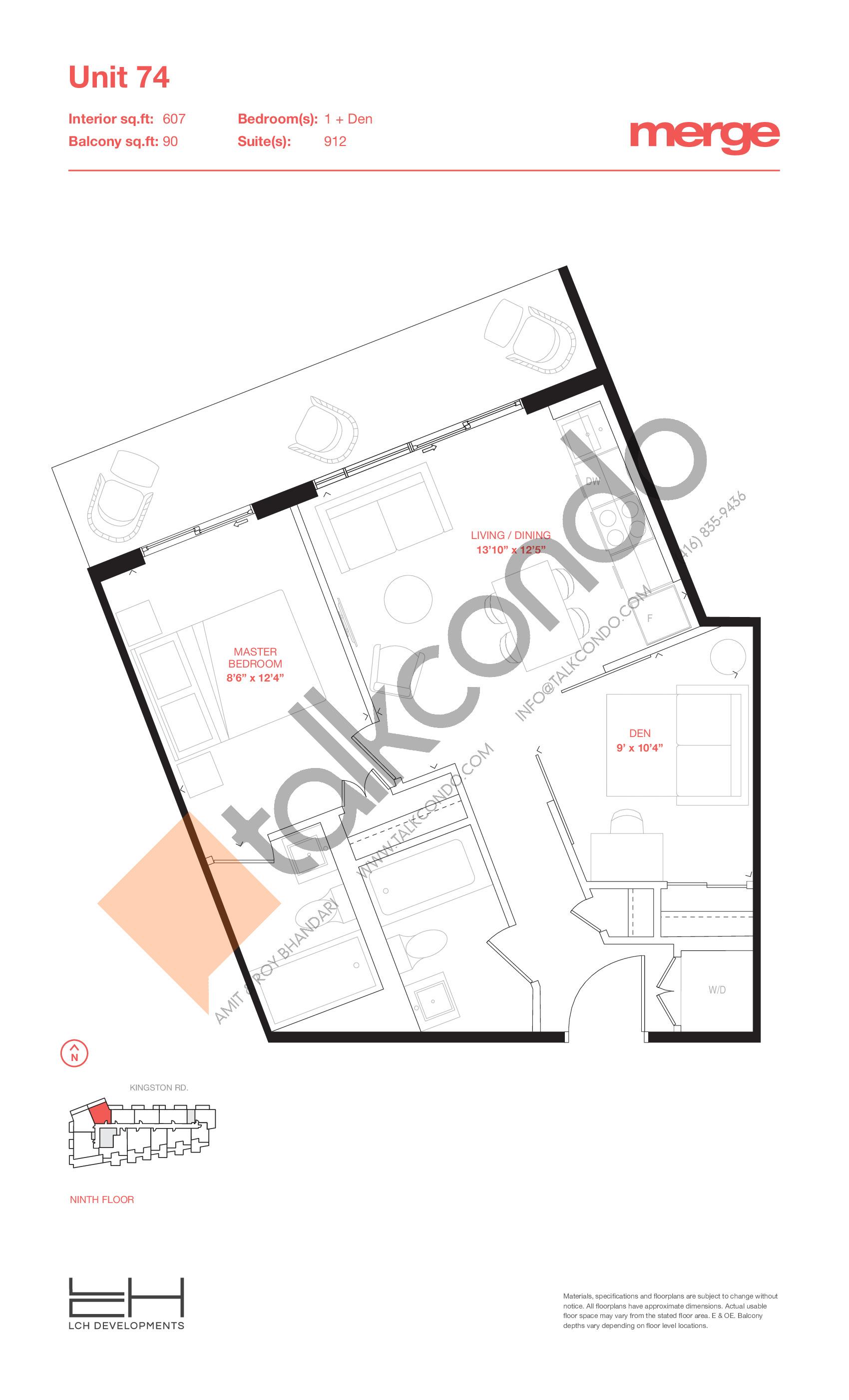 Unit 74 - Tower Floor Plan at Merge Condos - 607 sq.ft
