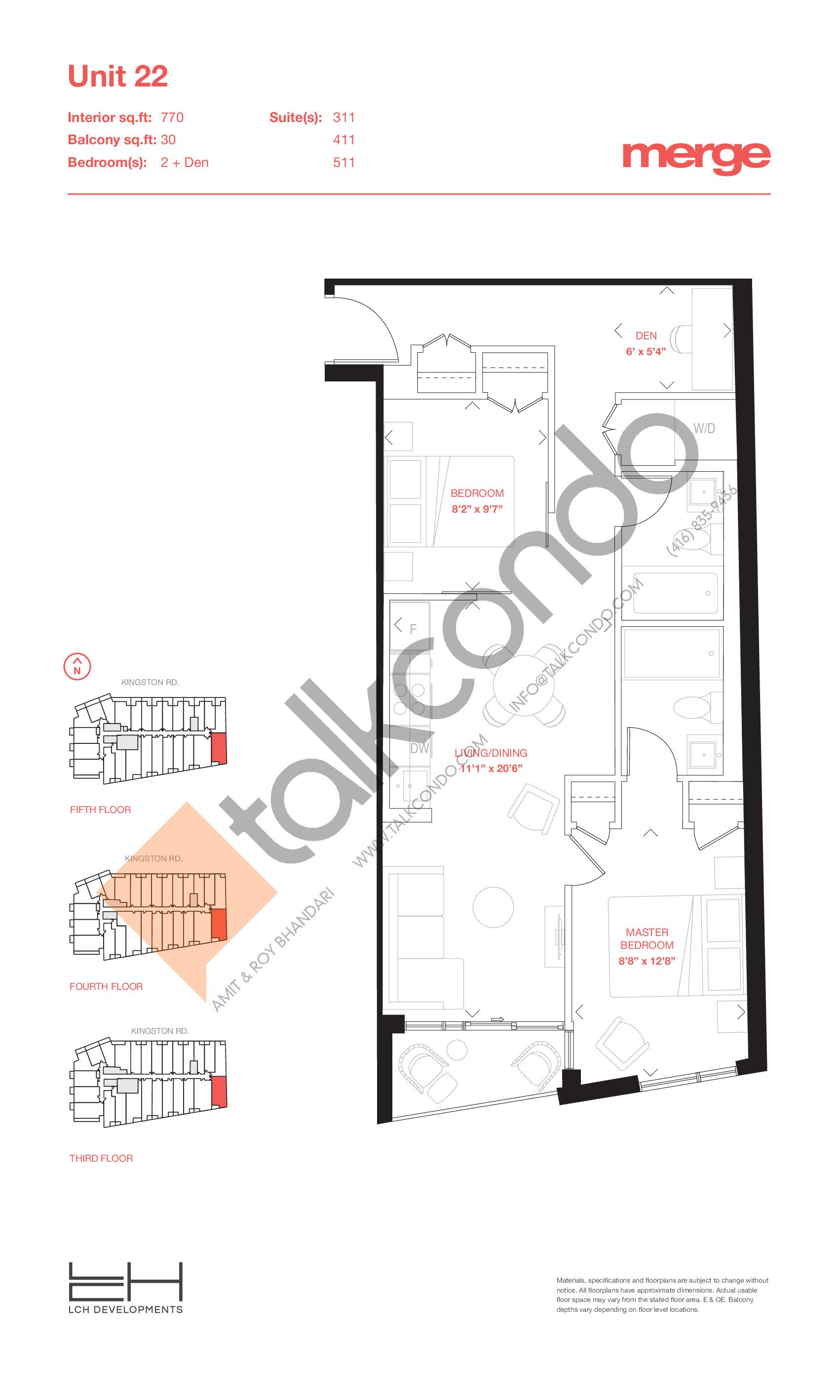 Unit 22 - Tower Floor Plan at Merge Condos - 770 sq.ft