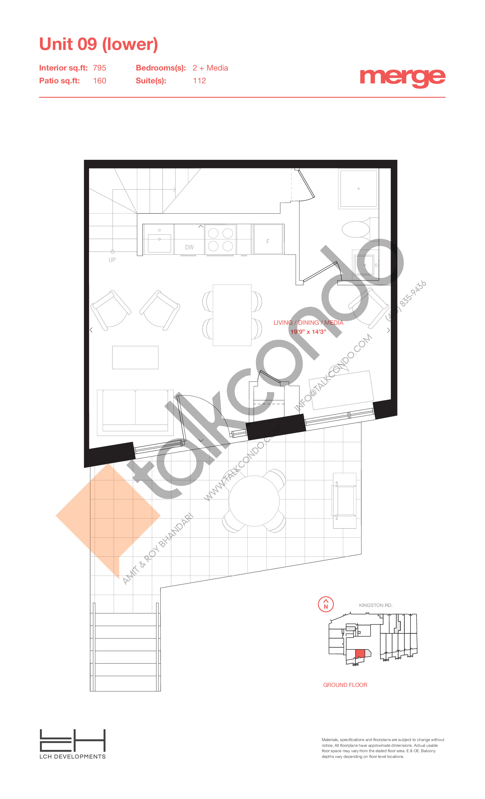 Unit 09 (Lower) - Townhouse Floor Plan at Merge Condos - 795 sq.ft