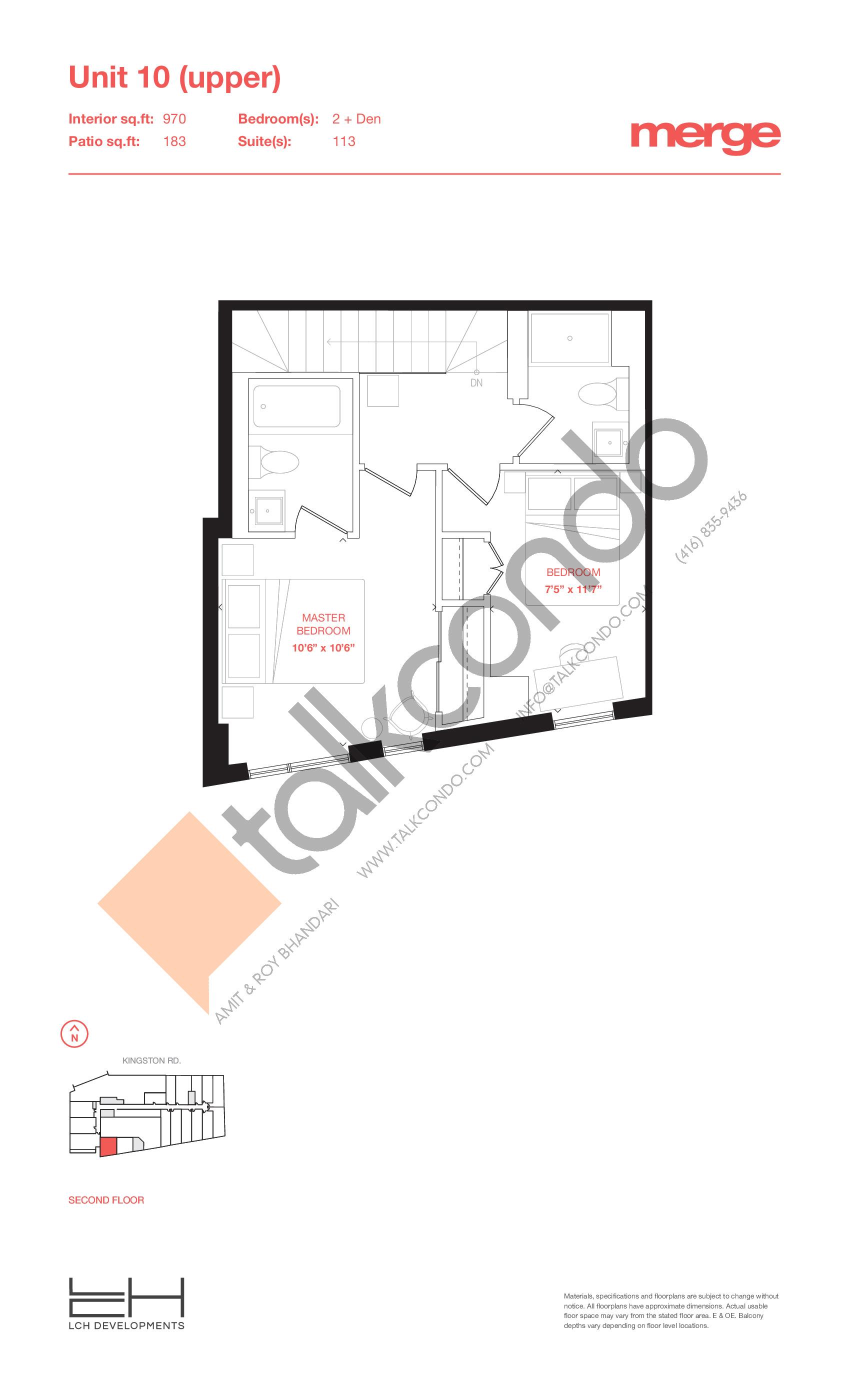 Unit 10 (Upper) - Townhouse Floor Plan at Merge Condos - 970 sq.ft
