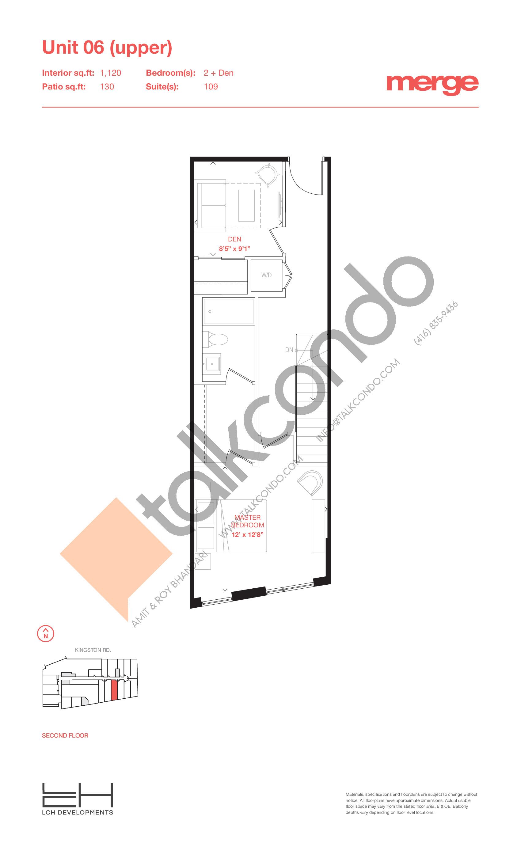 Unit 06 (Upper) - Townhouse Floor Plan at Merge Condos - 1120 sq.ft