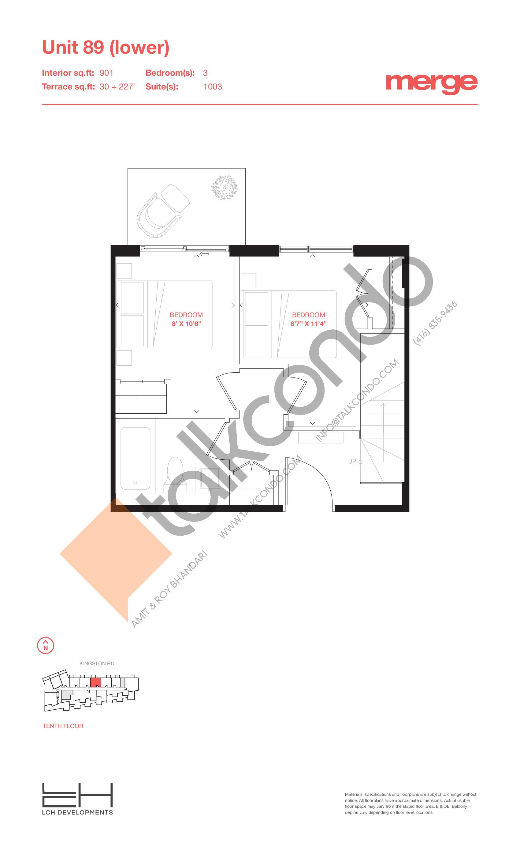 Unit 89 (Lower) - 2 Storey Floor Plan at Merge Condos - 901 sq.ft