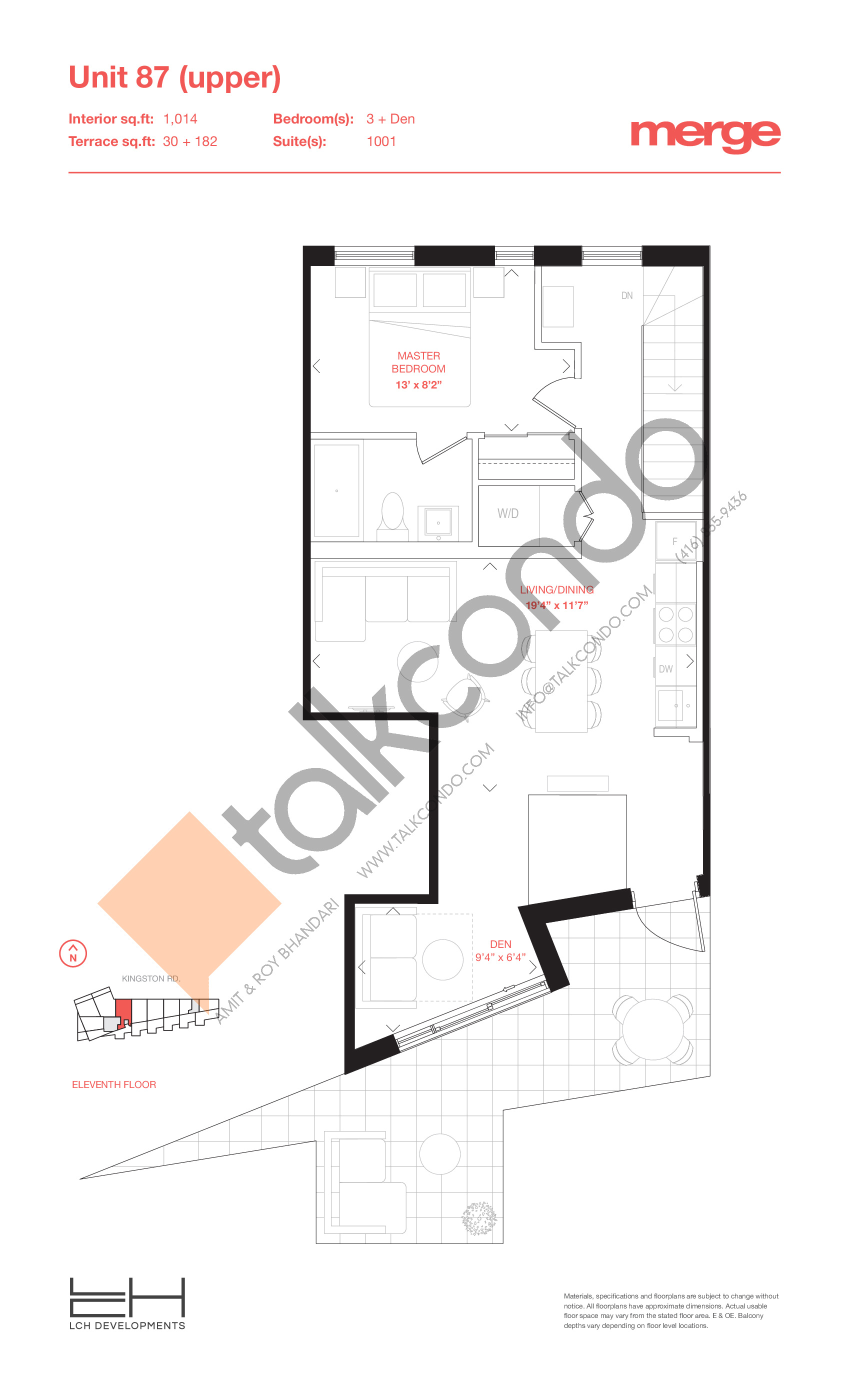 Unit 87 (Upper) - 2 Storey Floor Plan at Merge Condos - 1014 sq.ft