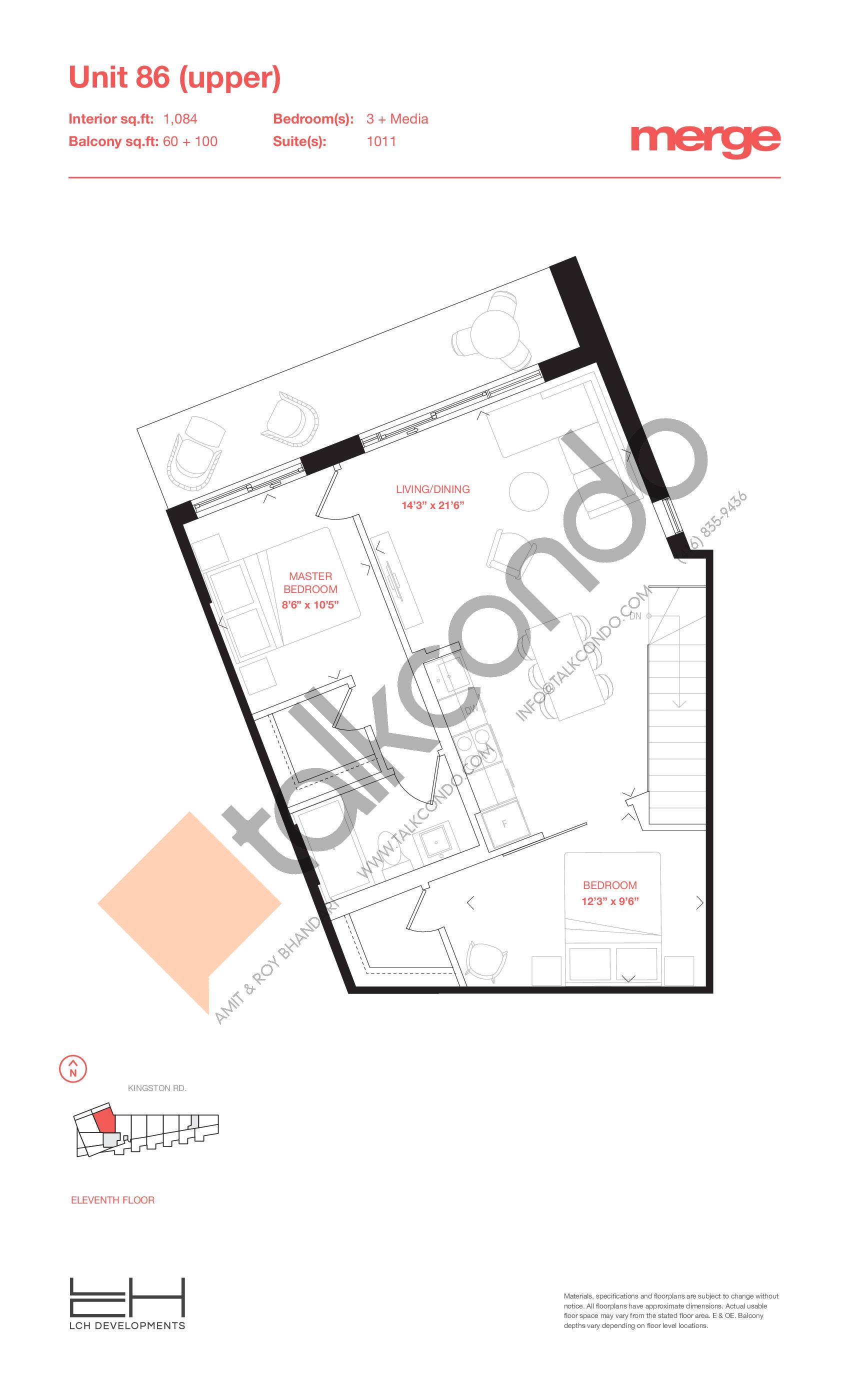 Unit 86 (Upper) - 2 Storey Floor Plan at Merge Condos - 1084 sq.ft