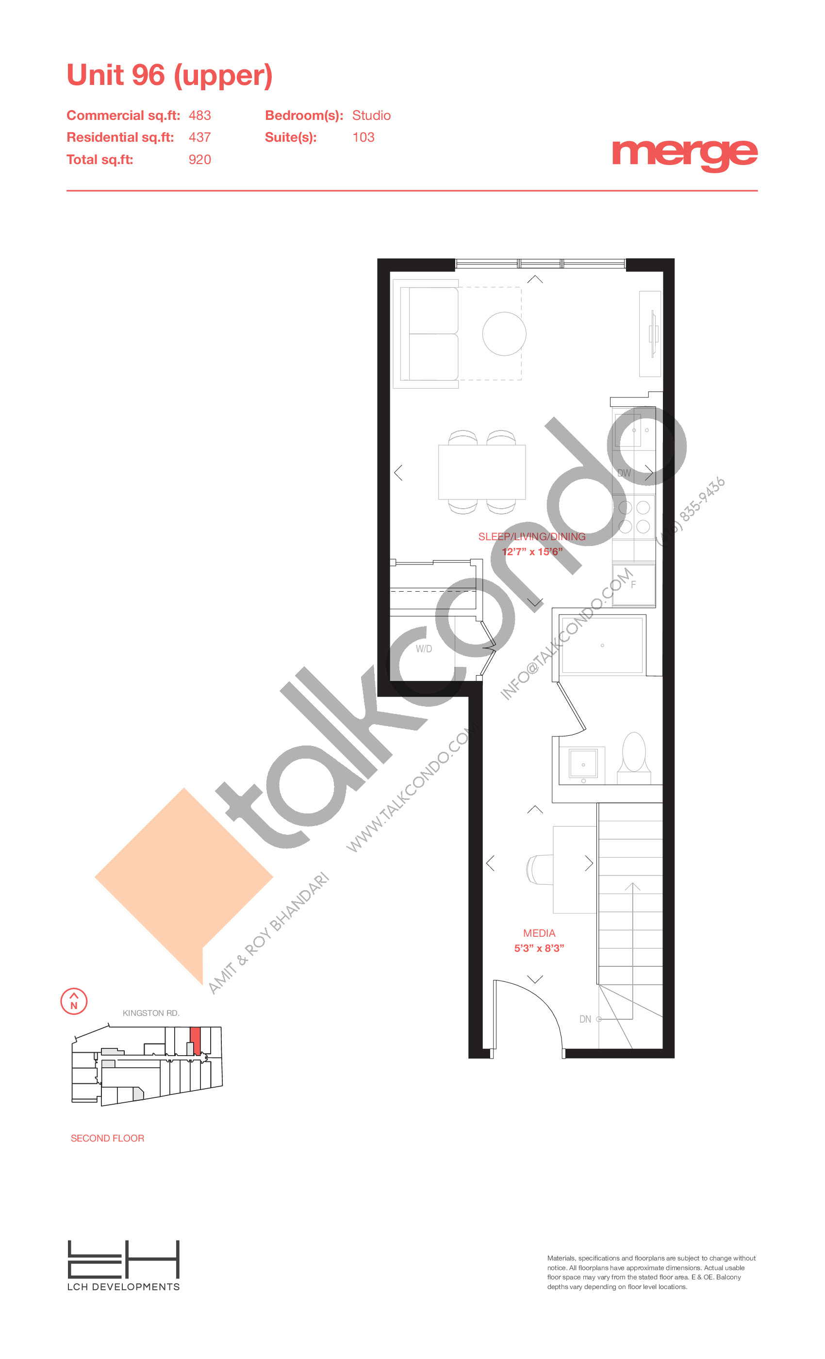 Unit 96 (Upper) - Livework Floor Plan at Merge Condos - 920 sq.ft
