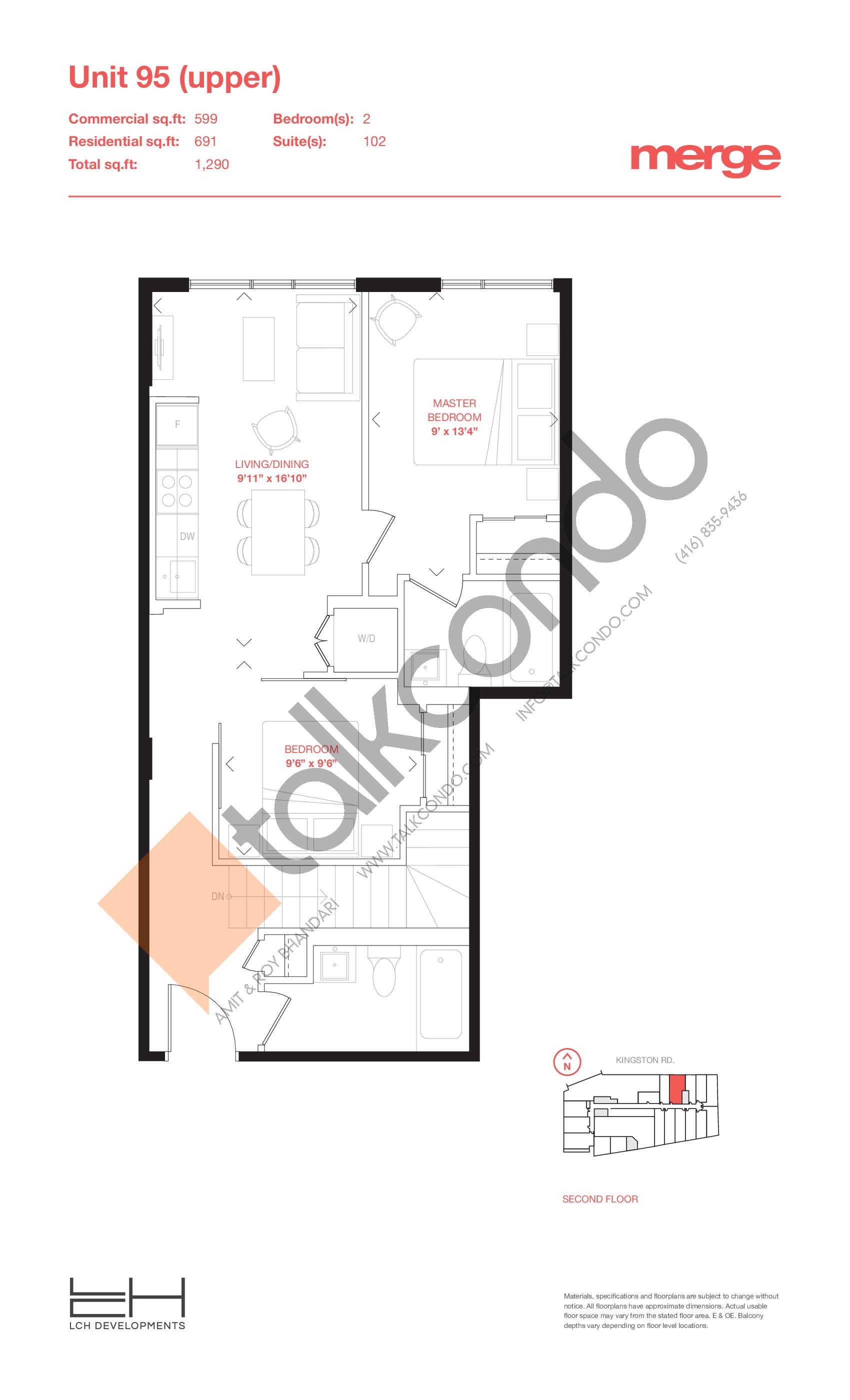 Unit 95 (Upper) - Livework Floor Plan at Merge Condos - 1290 sq.ft