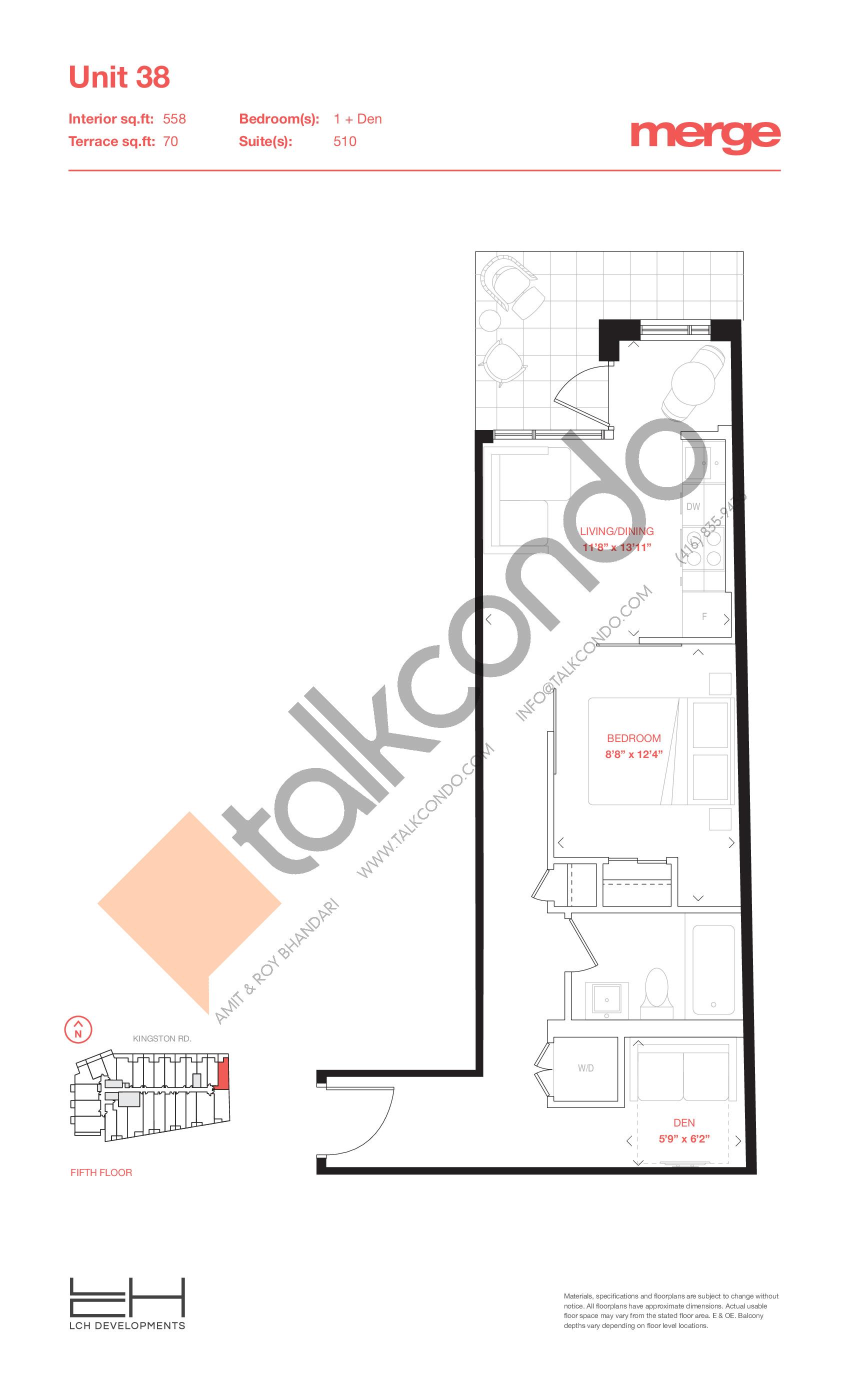 Unit 38 - Terraces Floor Plan at Merge Condos - 558 sq.ft
