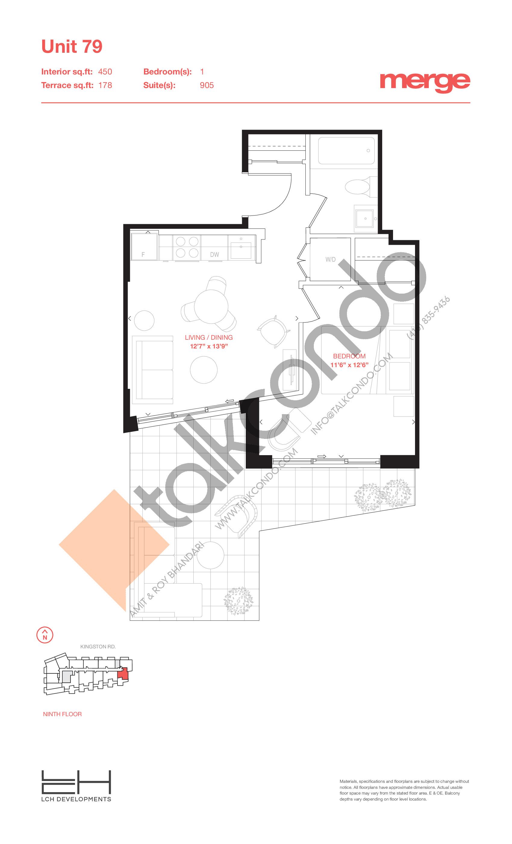 Unit 79 - Terraces Floor Plan at Merge Condos - 450 sq.ft