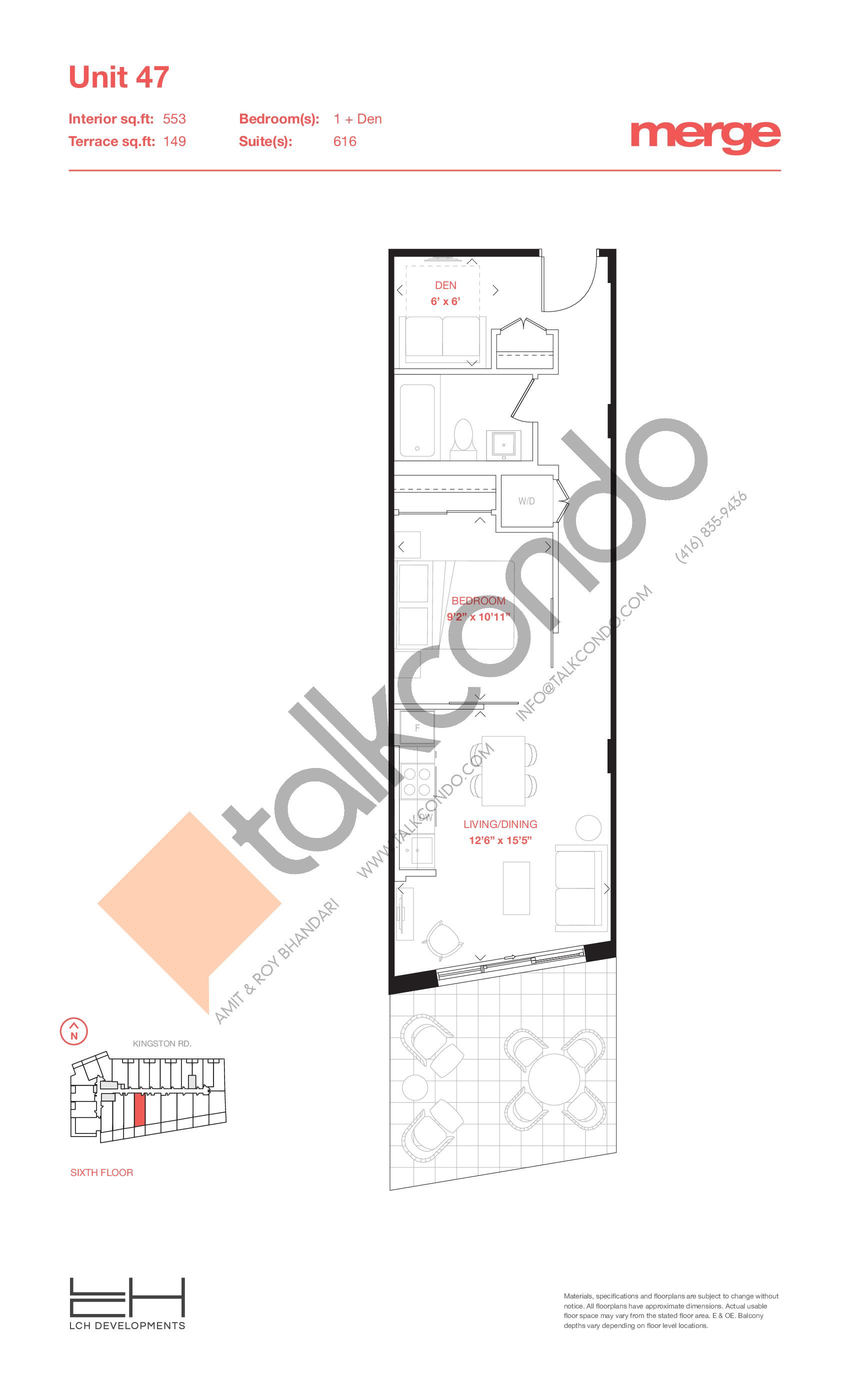 Unit 47 - Terraces Floor Plan at Merge Condos - 553 sq.ft