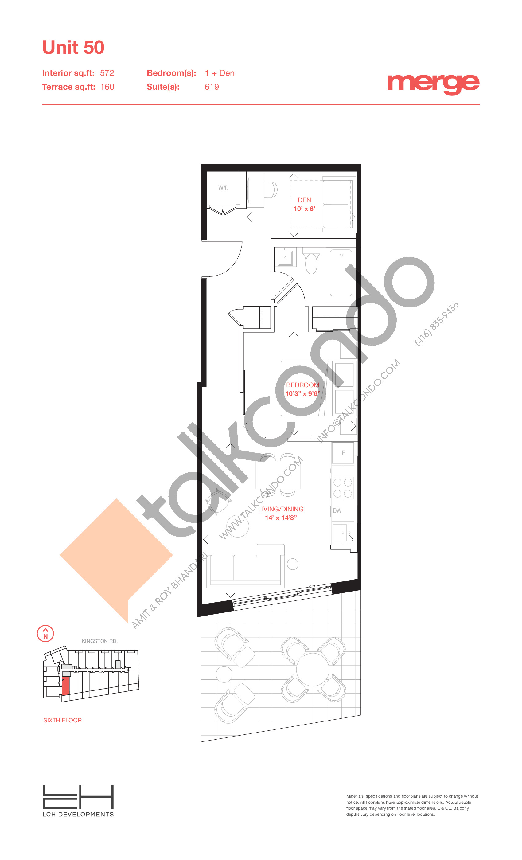 Unit 50 - Terraces Floor Plan at Merge Condos - 572 sq.ft