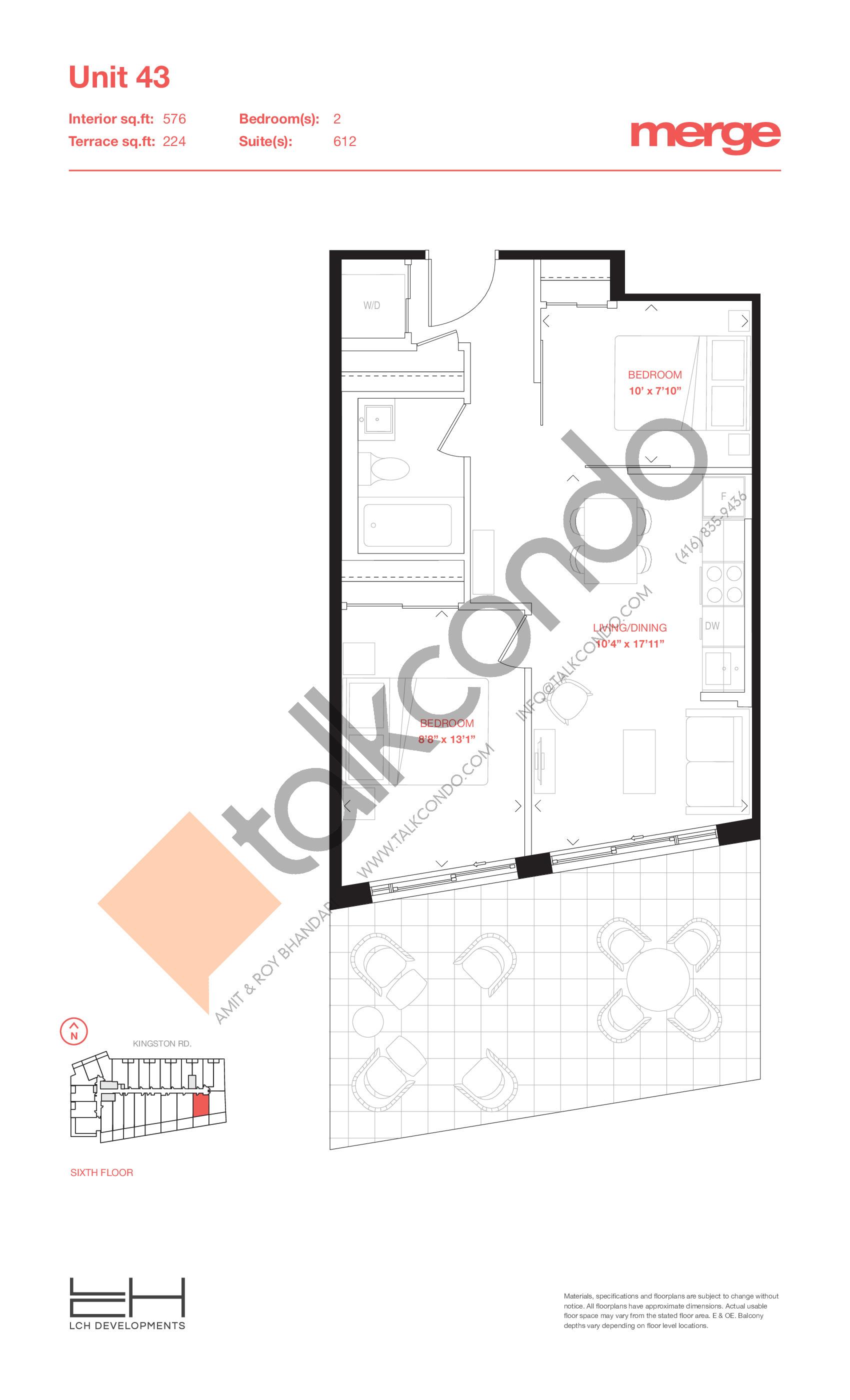 Unit 43 - Terraces Floor Plan at Merge Condos - 576 sq.ft