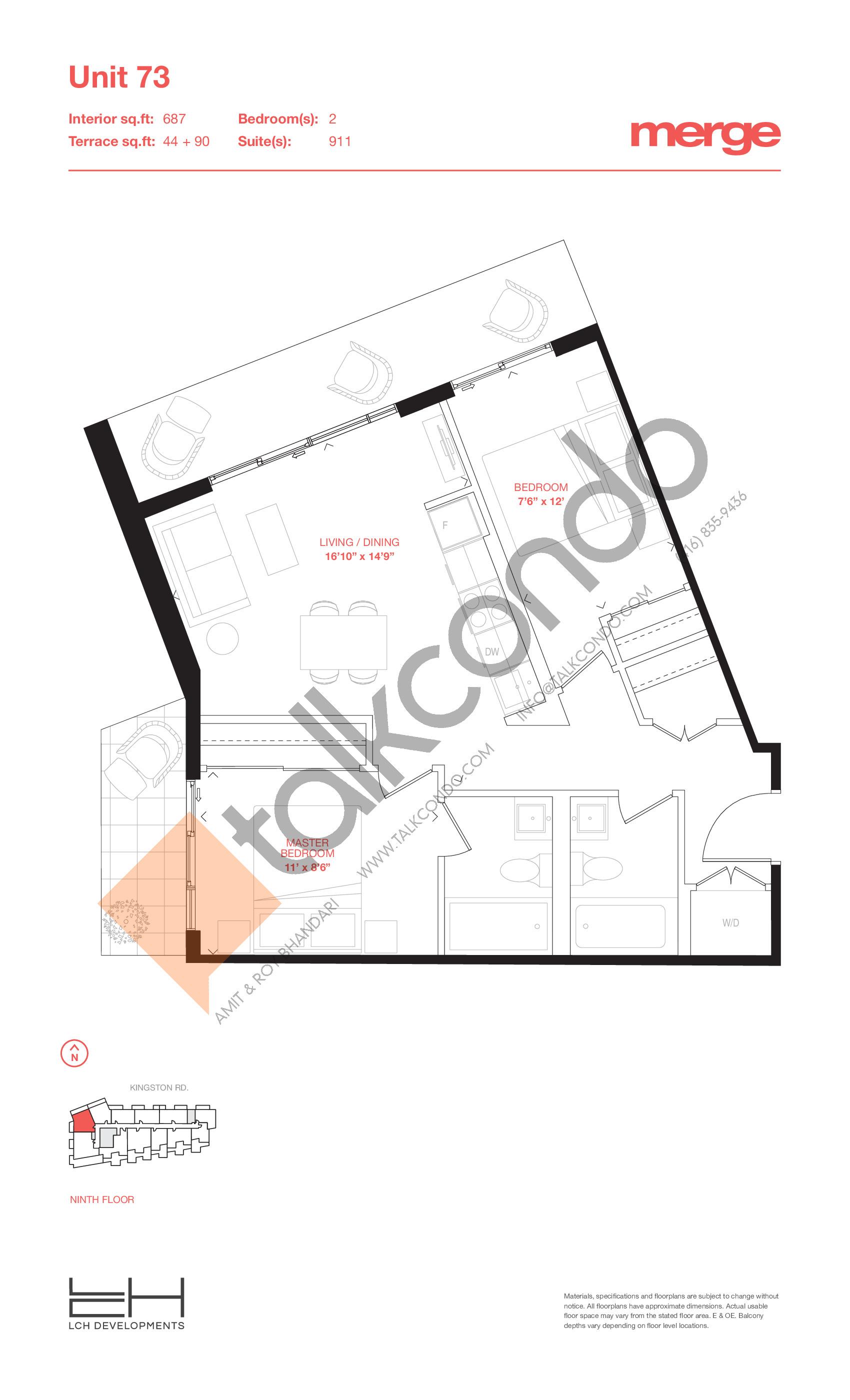 Unit 73 - Terraces Floor Plan at Merge Condos - 687 sq.ft