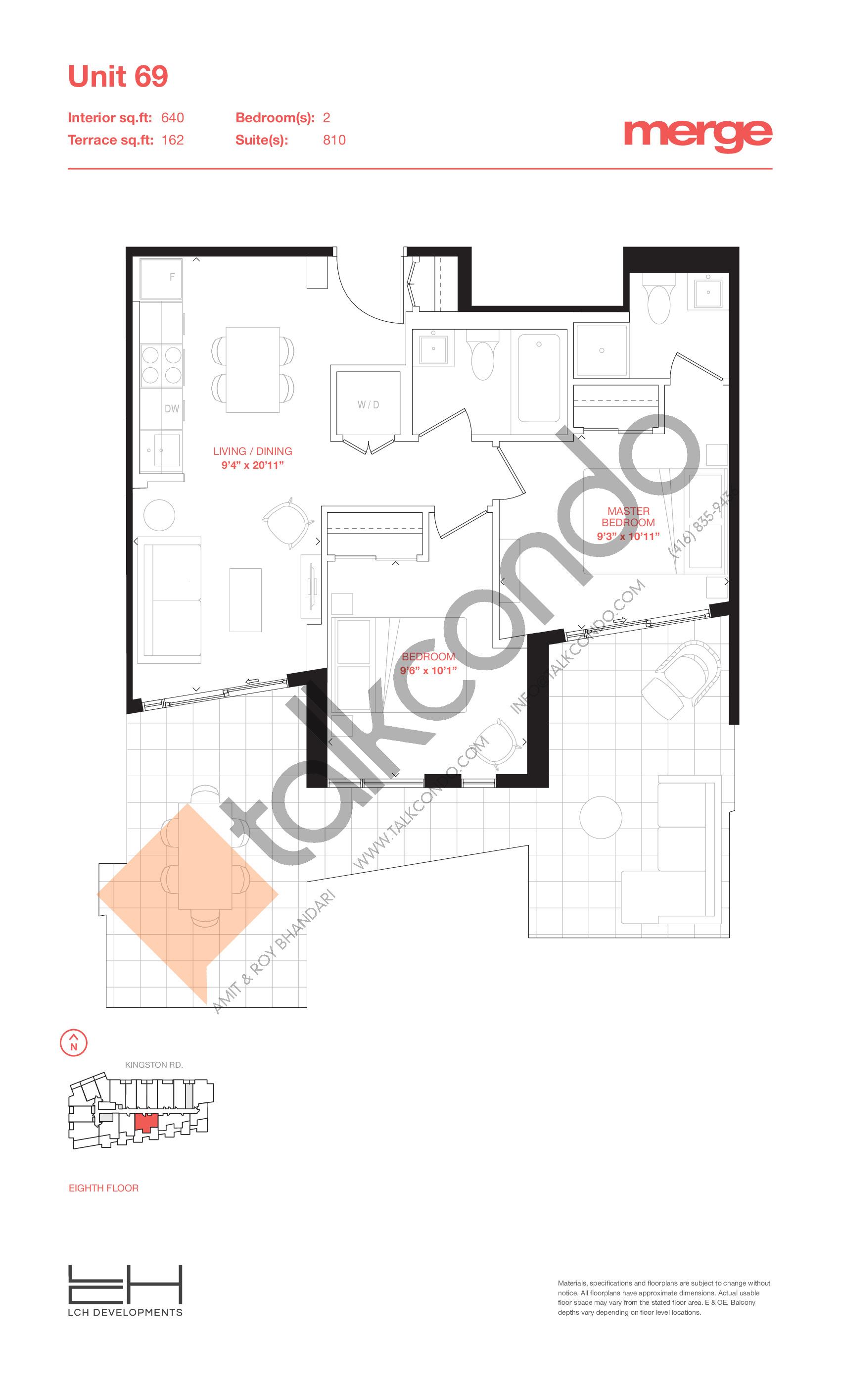 Unit 69 - Terraces Floor Plan at Merge Condos - 640 sq.ft