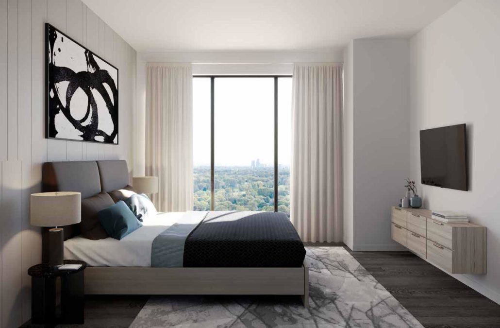 bedroom with a view at notting hill condos