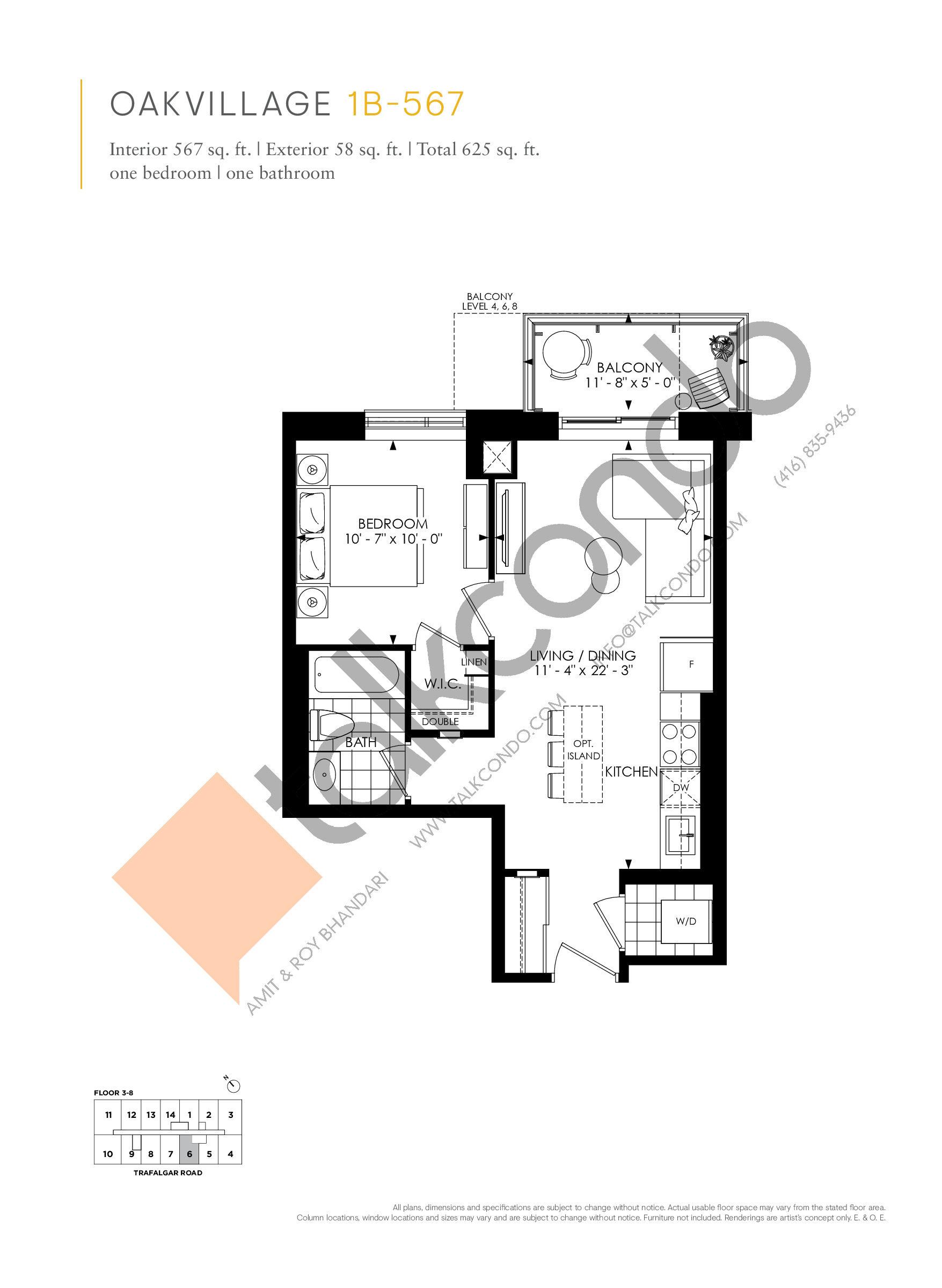 1B-567 Floor Plan at Minto Oakvillage Condos 1 - 567 sq.ft