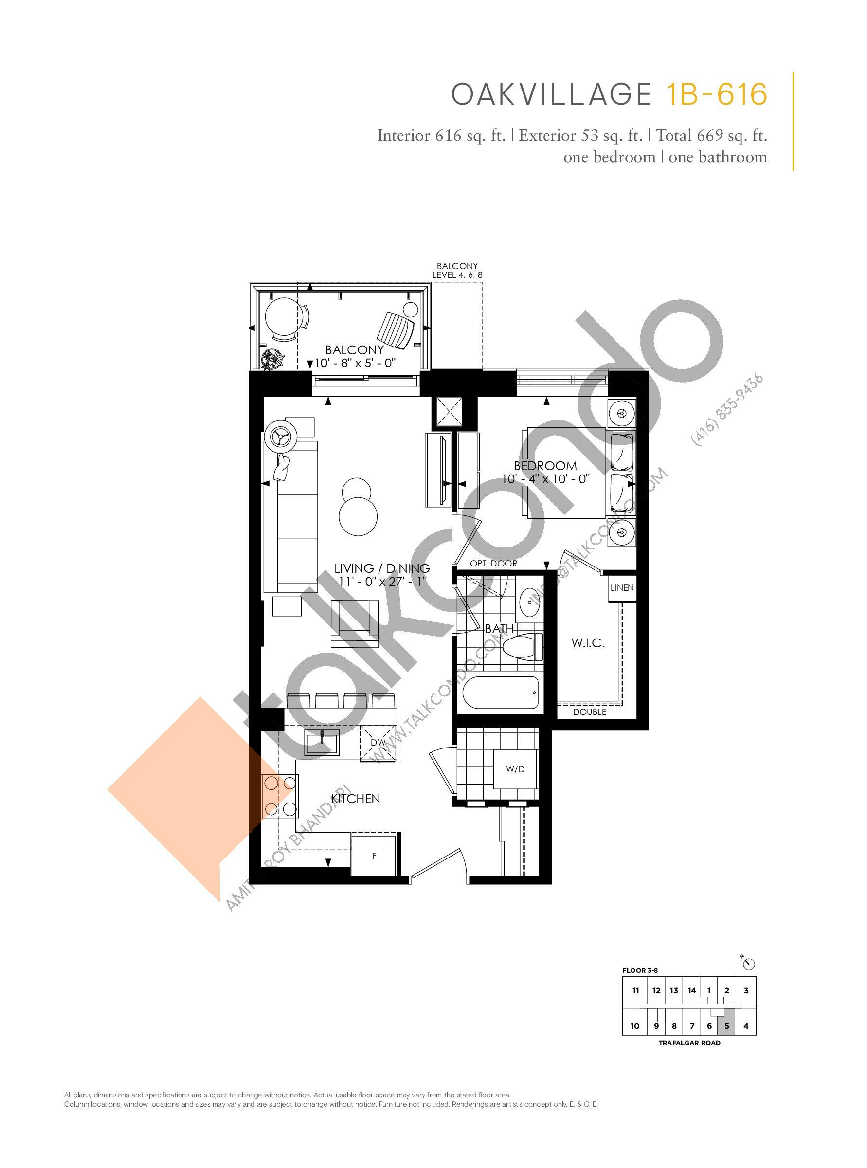 1B-616 Floor Plan at Minto Oakvillage Condos 1 - 616 sq.ft