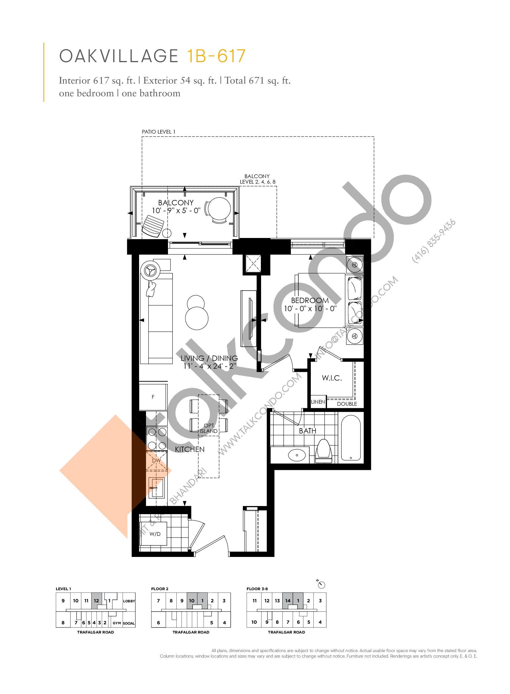 1B-617 Floor Plan at Minto Oakvillage Condos 1 - 617 sq.ft
