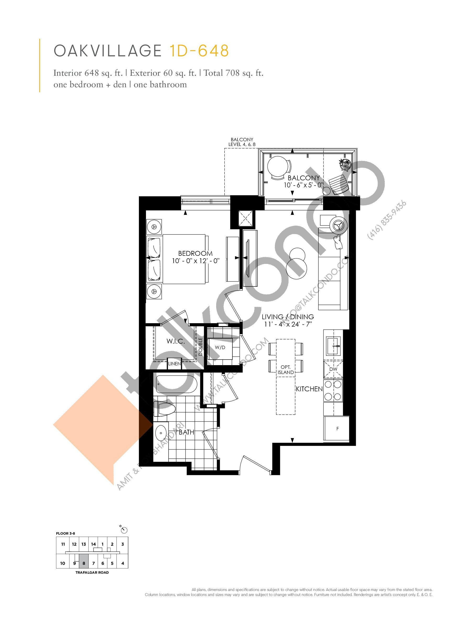 1D-648 Floor Plan at Minto Oakvillage Condos 1 - 648 sq.ft