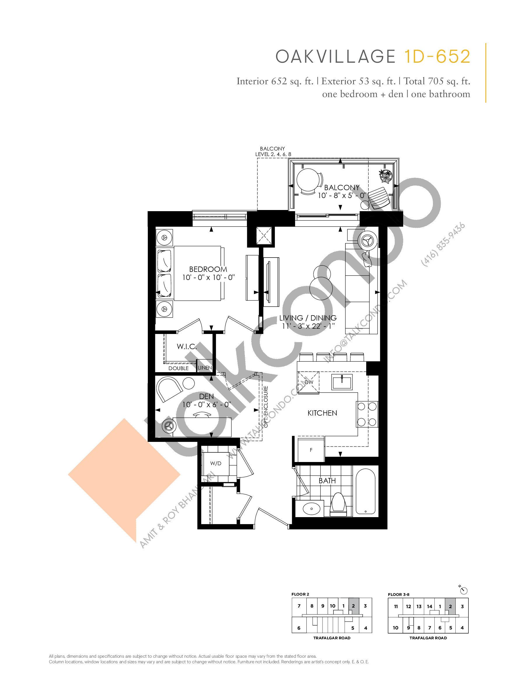 1D-652 Floor Plan at Minto Oakvillage Condos 1 - 652 sq.ft
