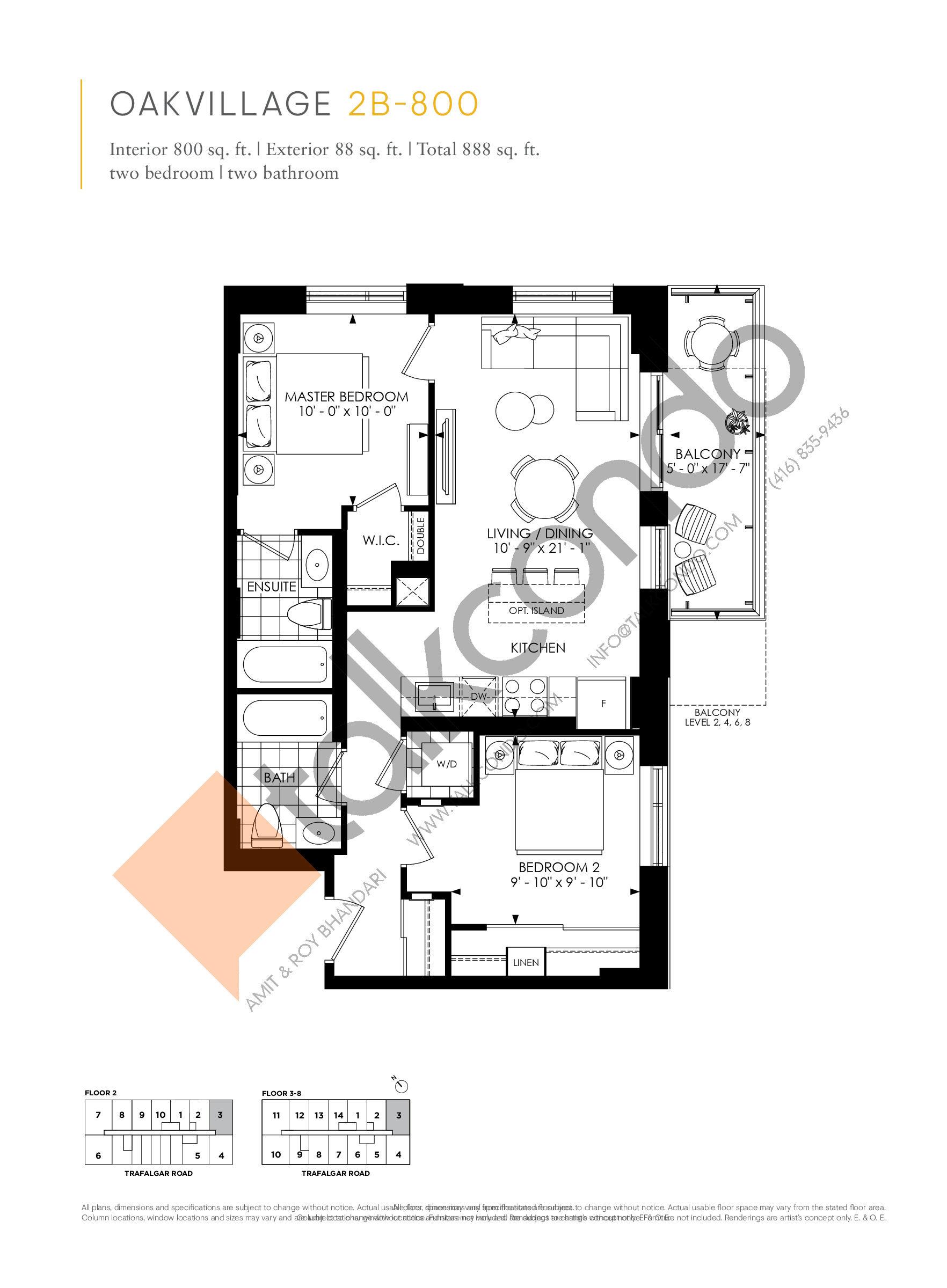 2B-800 Floor Plan at Minto Oakvillage Condos 1 - 800 sq.ft
