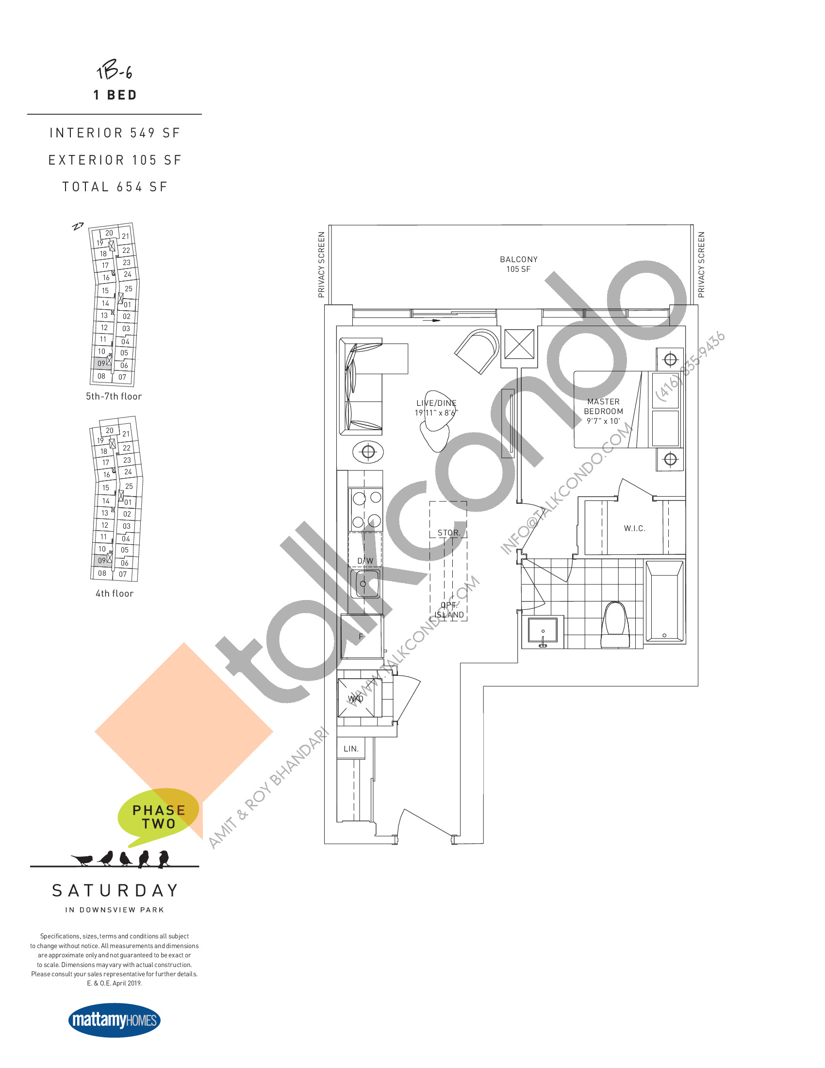 1B-6 Floor Plan at Saturday in Downsview Park Phase 2 Condos - 549 sq.ft