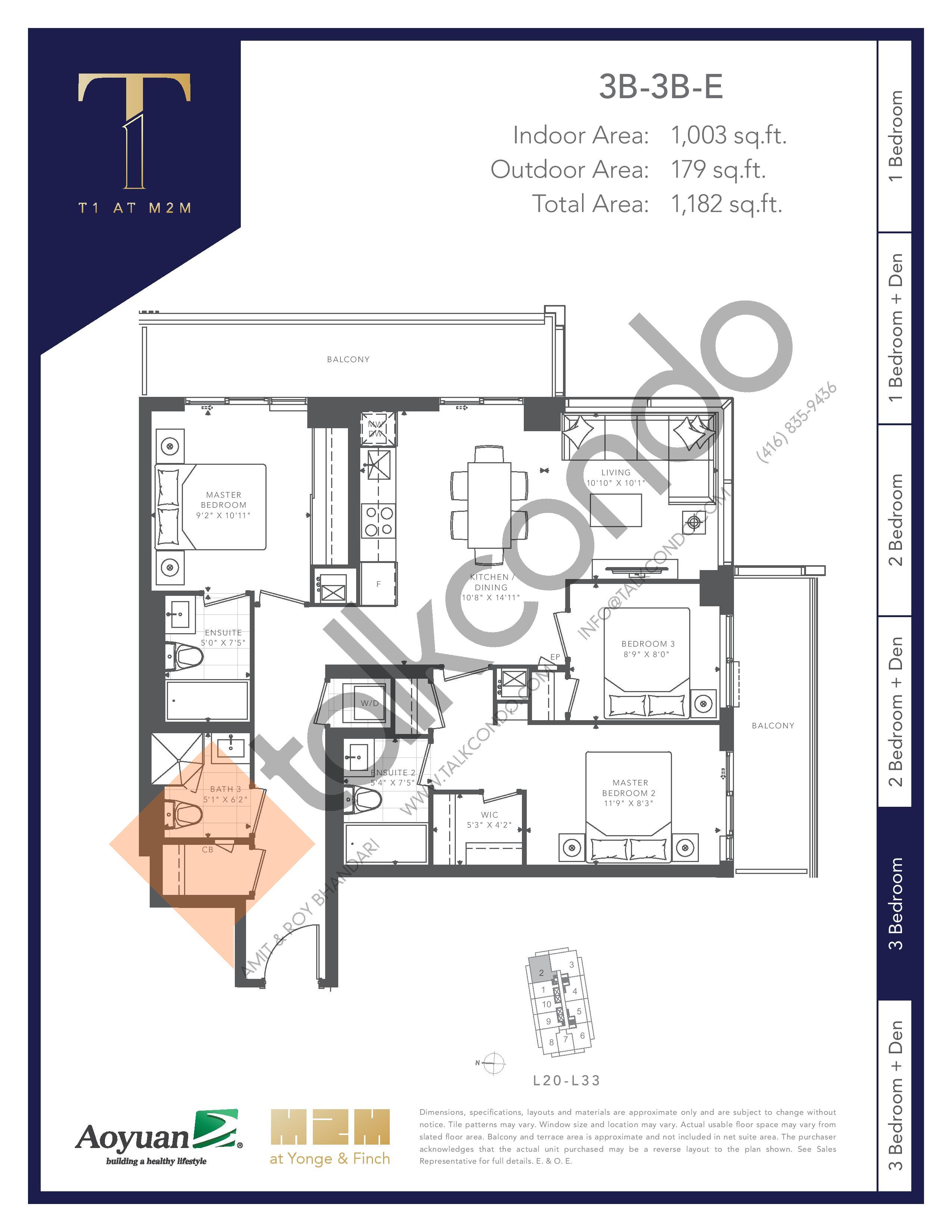 3B-3B-E Floor Plan at T1 at M2M Condos - 1003 sq.ft