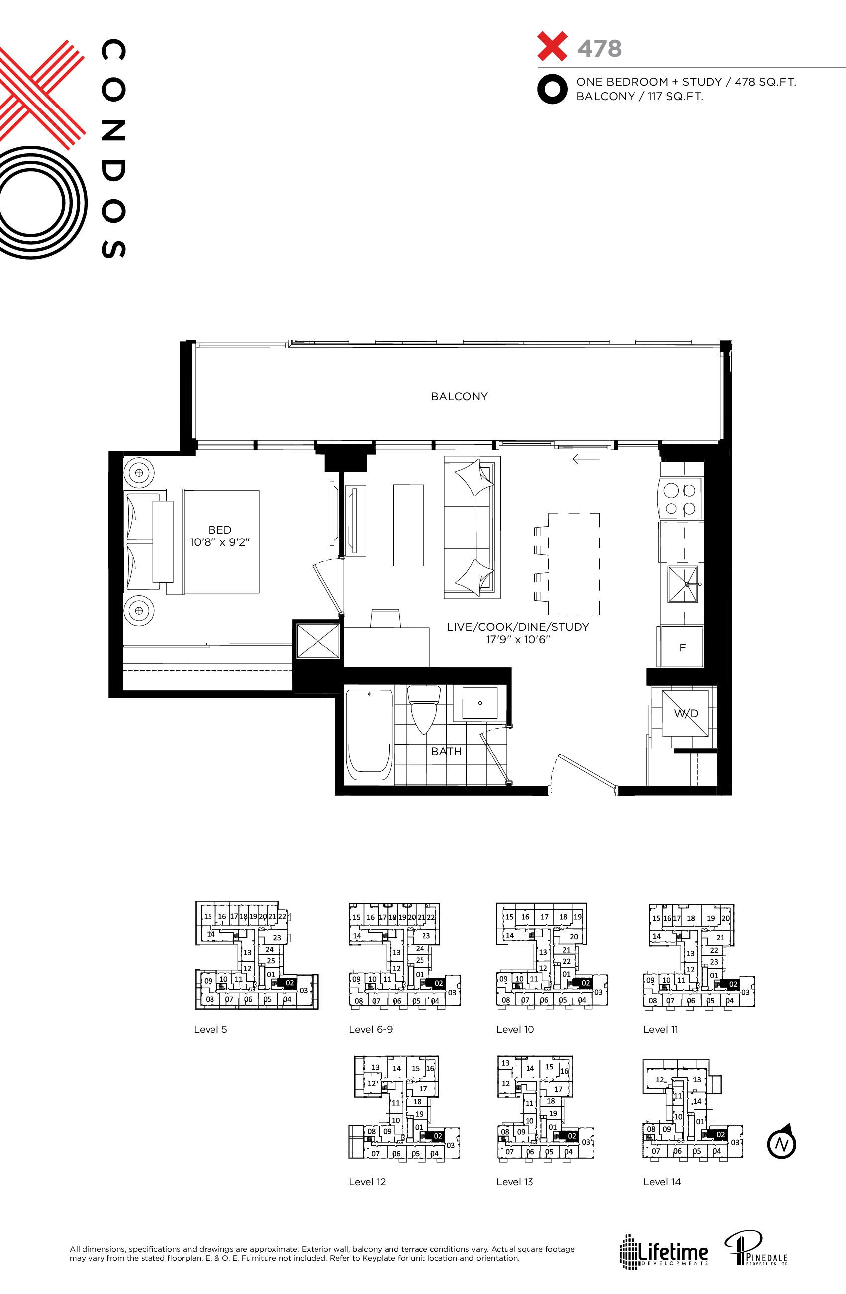 X478 Floor Plan at XO Condos - 478 sq.ft