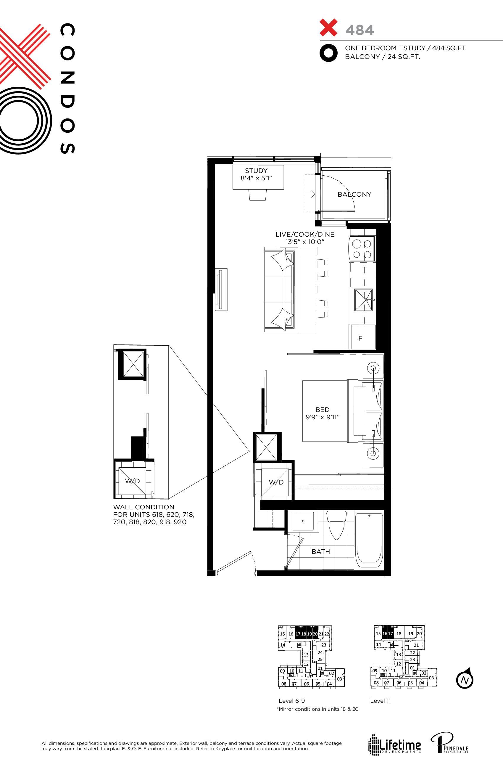 X484 Floor Plan at XO Condos - 484 sq.ft