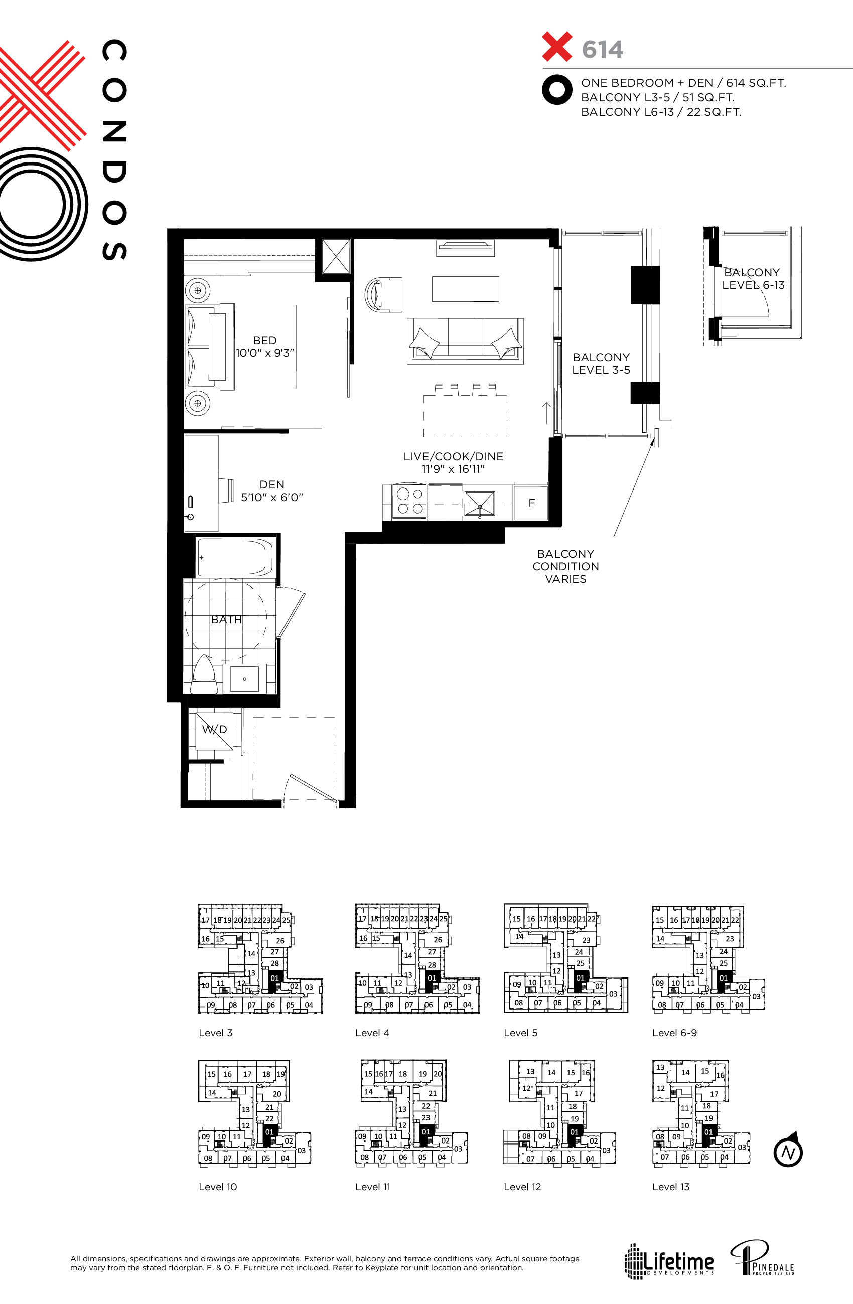 X614 Floor Plan at XO Condos - 614 sq.ft