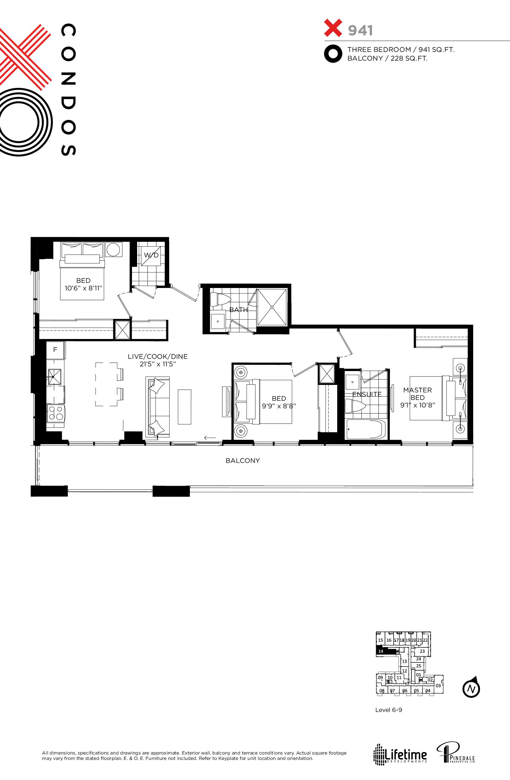 X941 Floor Plan at XO Condos - 941 sq.ft