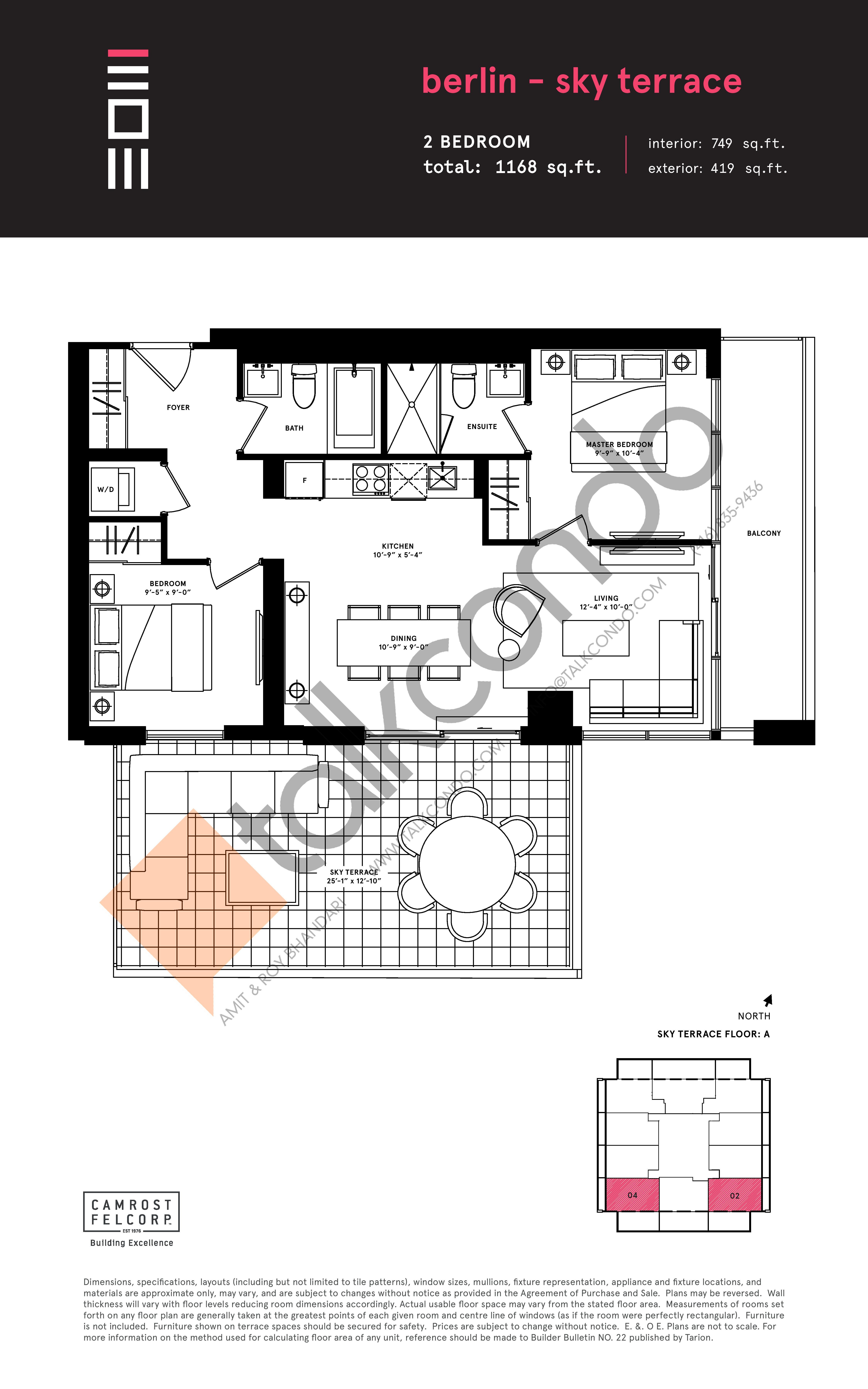 Berlin - Sky Terrace Floor Plan at Exchange District Condos - 749 sq.ft