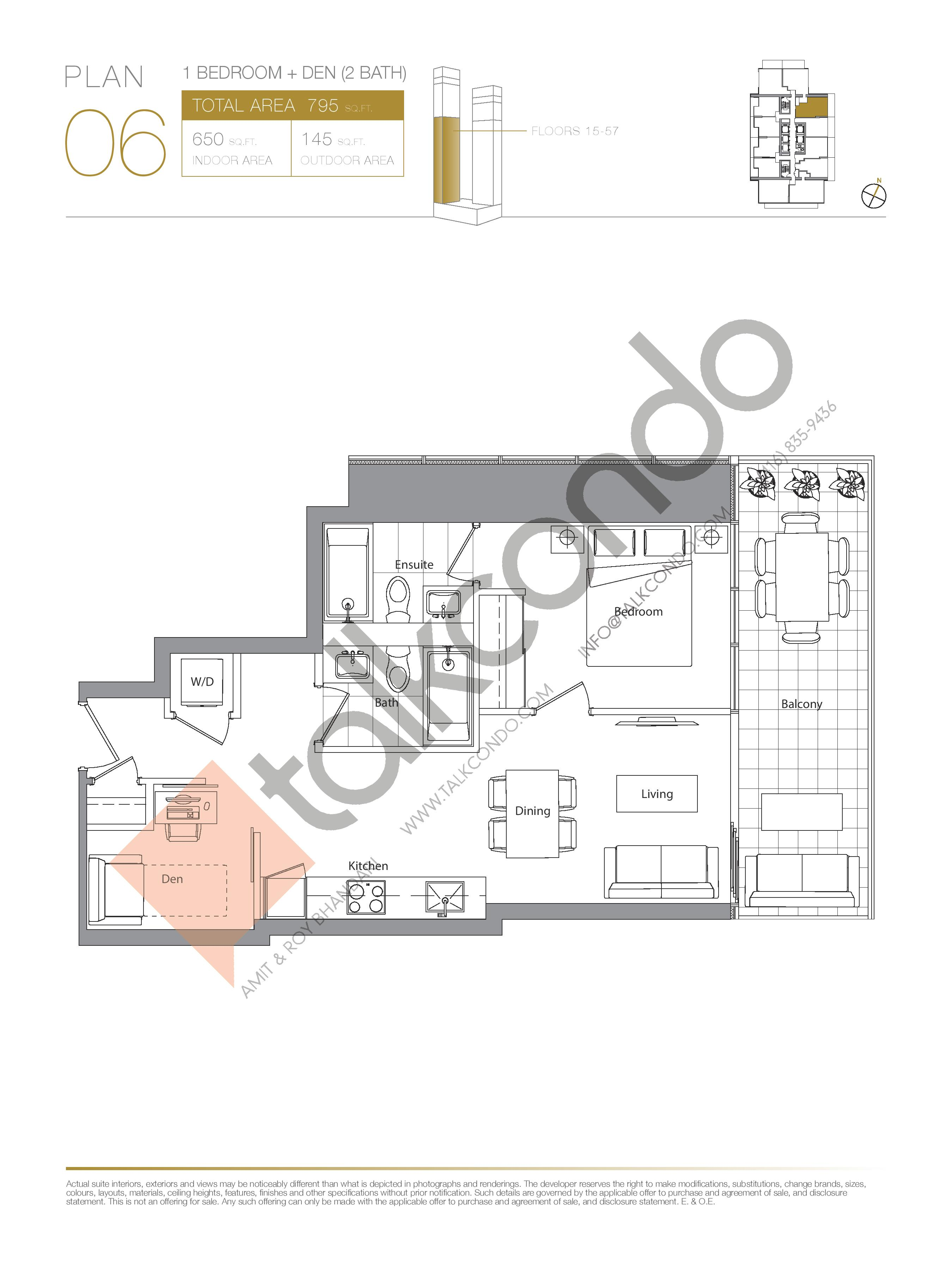 Plan 06 (New Release) Lower Floor Plan at Concord Canada House Condos - 650 sq.ft
