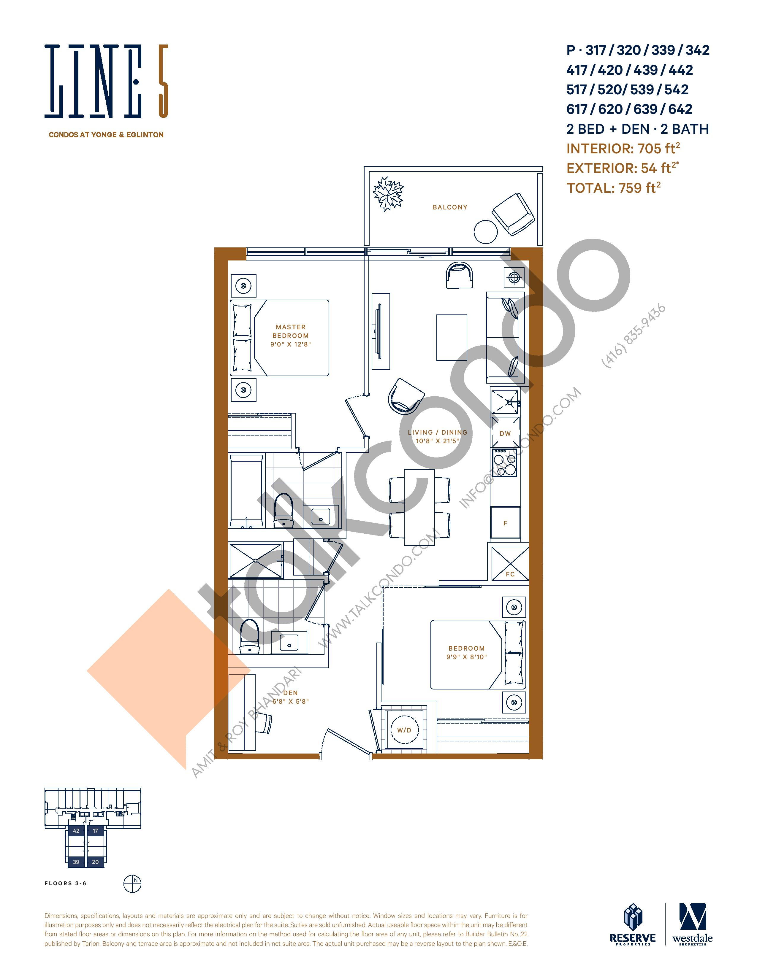 P-317 / 320 / 339 / 342 / 417 / 420 / 439 / 442 / 517 / 520 / 539 / 542 / 617 / 620 / 639 / 642 Floor Plan at Line 5 South Tower Condos - 705 sq.ft