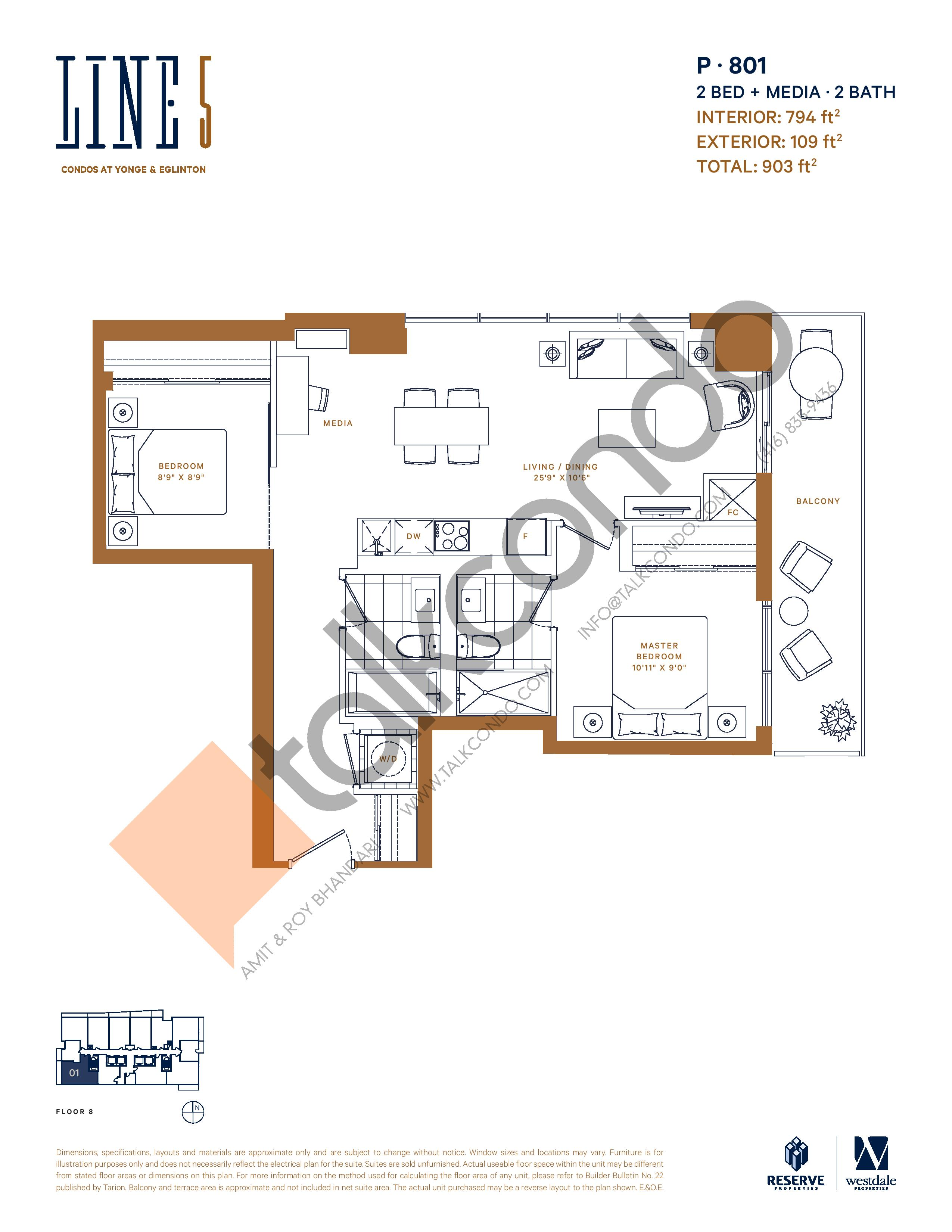 P-801 Floor Plan at Line 5 South Tower Condos - 794 sq.ft