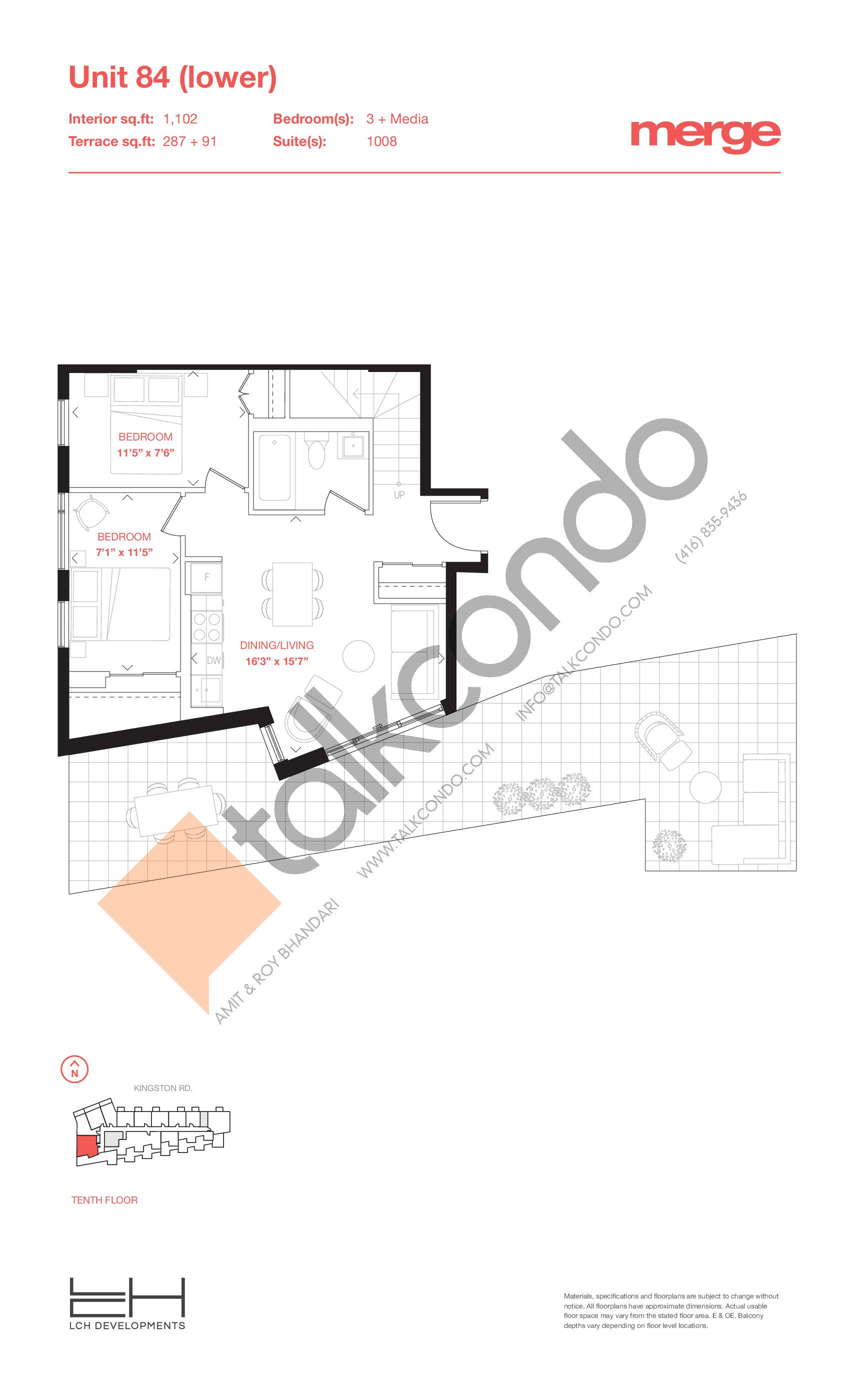 Unit 84 (Lower) - 2 Storey Floor Plan at Merge Condos - 1102 sq.ft
