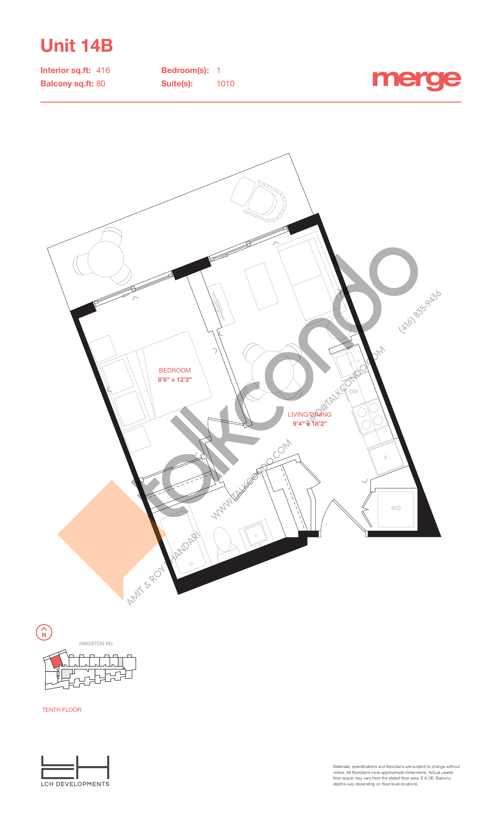 Unit 14B - Tower Floor Plan at Merge Condos - 416 sq.ft