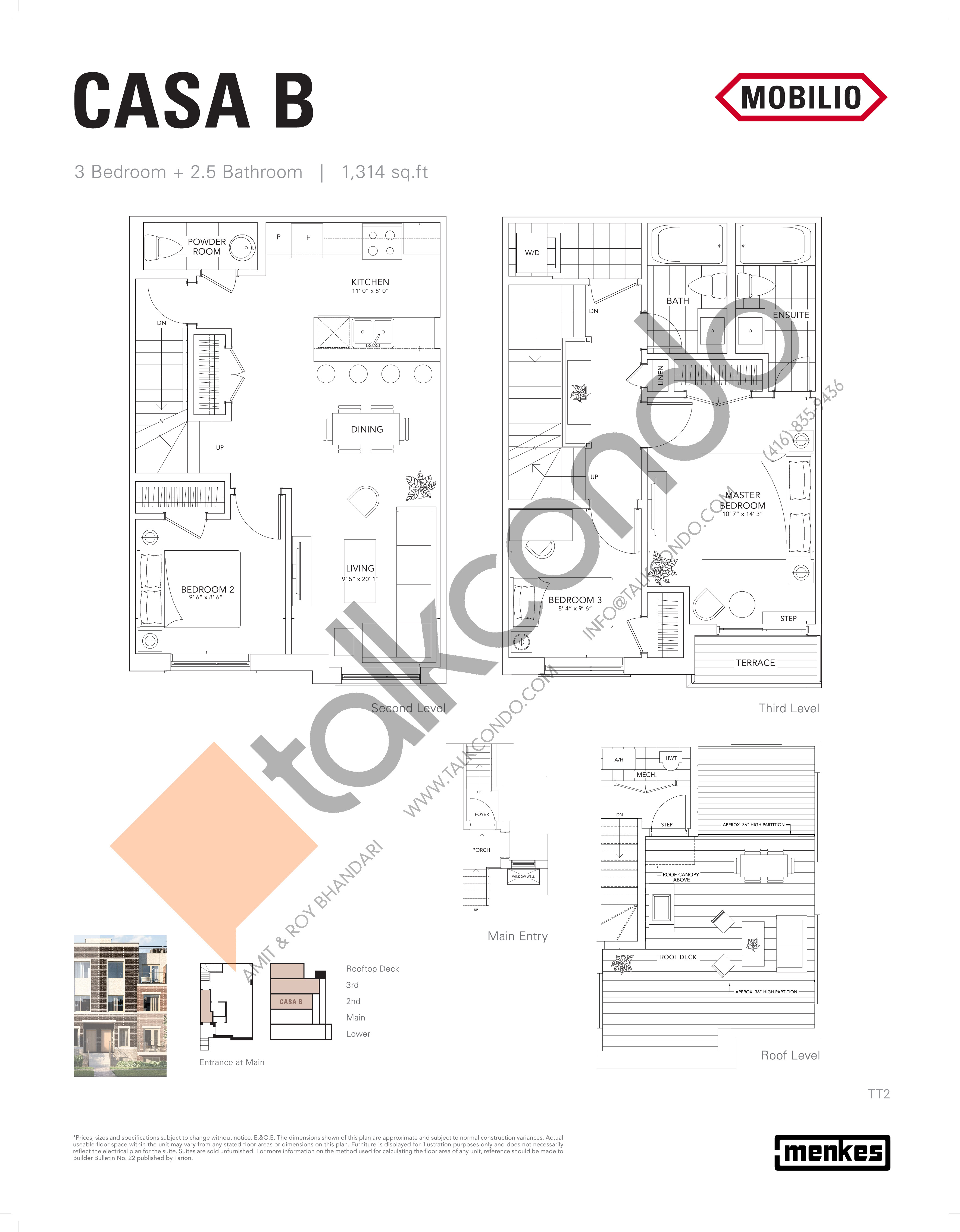Casa B Floor Plan at Mobilio Townhomes - 1314 sq.ft
