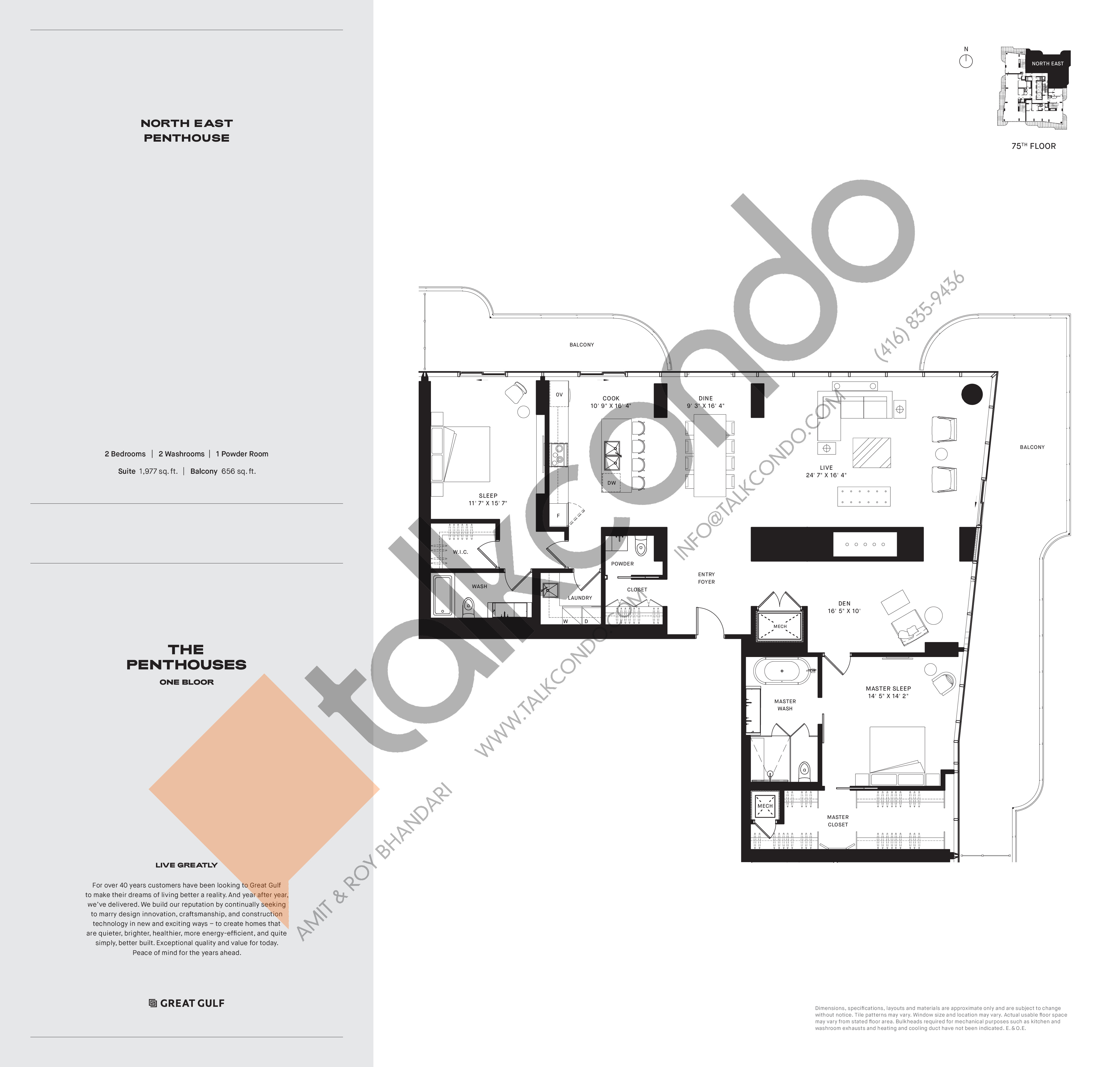 North East PH1 Floor Plan at One Bloor Condos - 1977 sq.ft