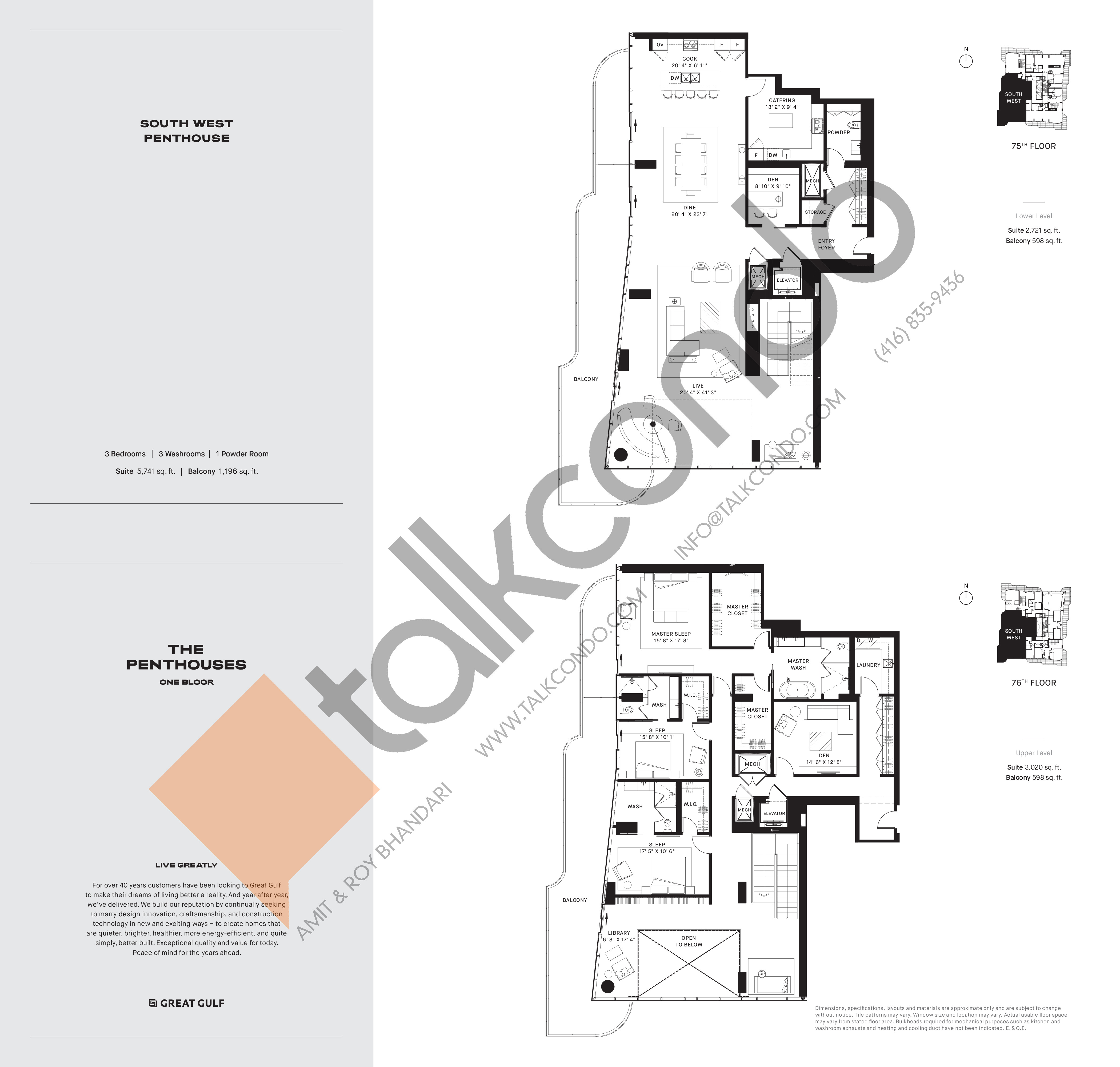 South West PH3 Floor Plan at One Bloor Condos - 5741 sq.ft