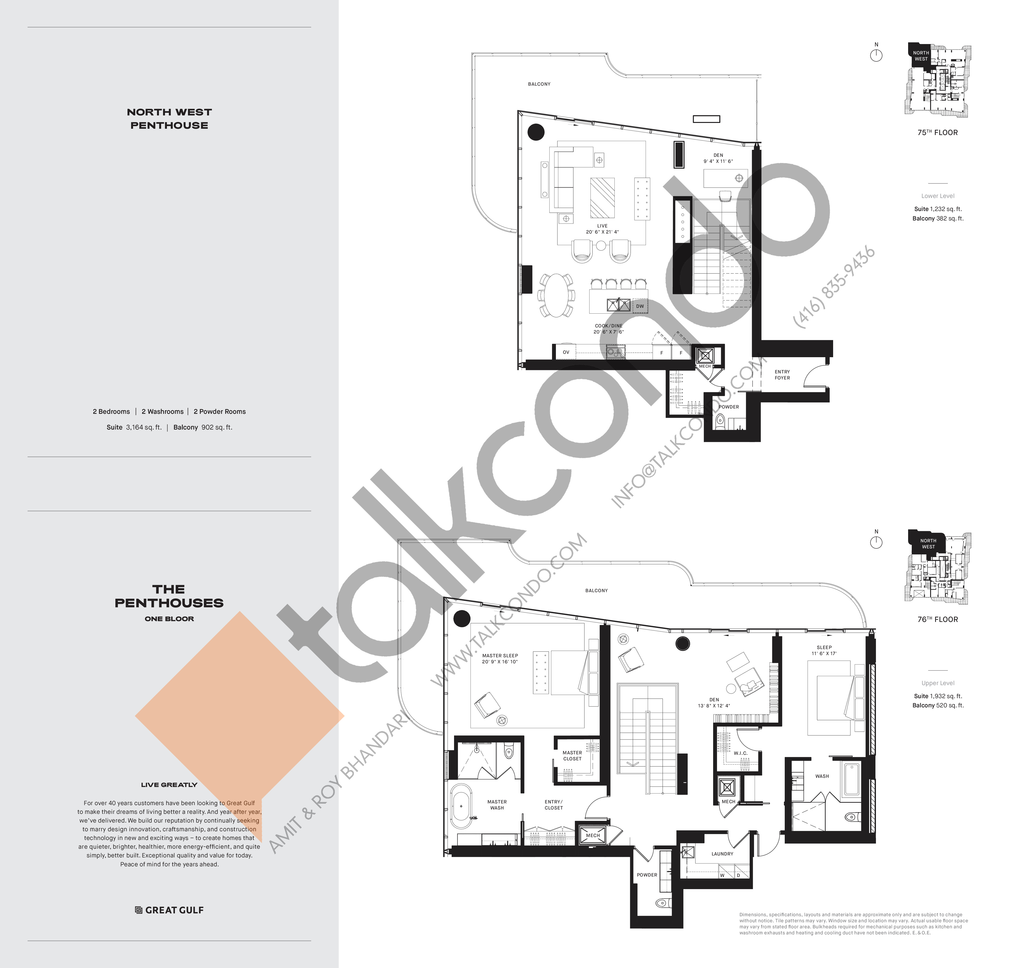 North West PH4 Floor Plan at One Bloor Condos - 3164 sq.ft